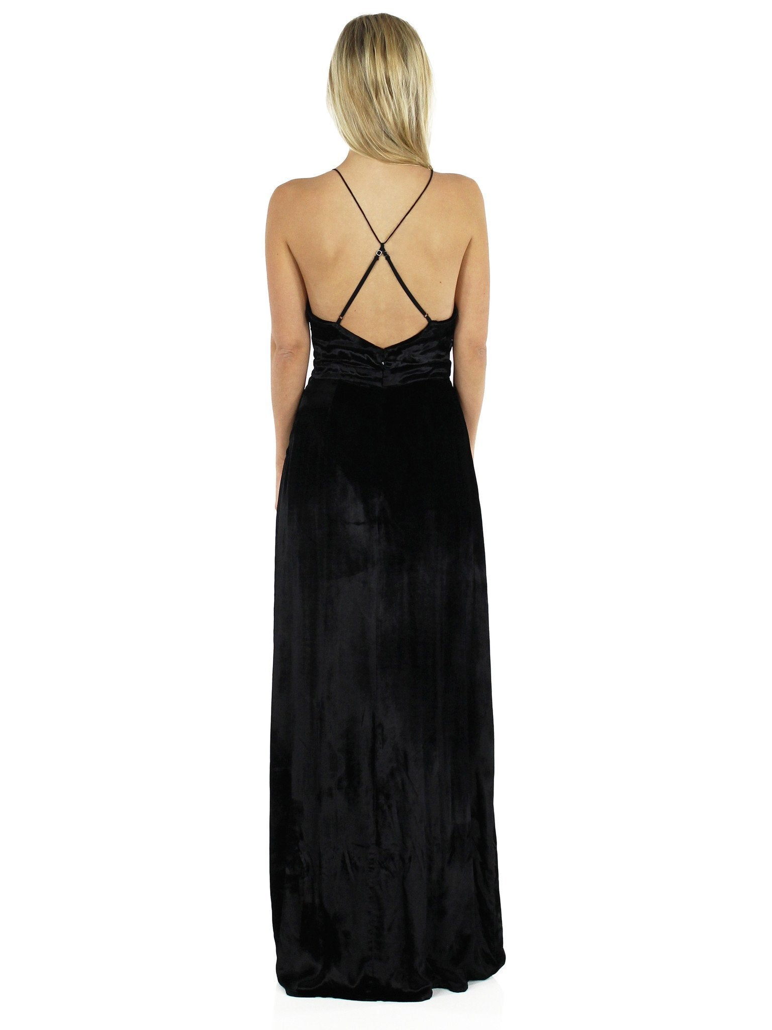 Women wearing a dress rental from The Jetset Diaries called Velvet Saskia Maxi Dress