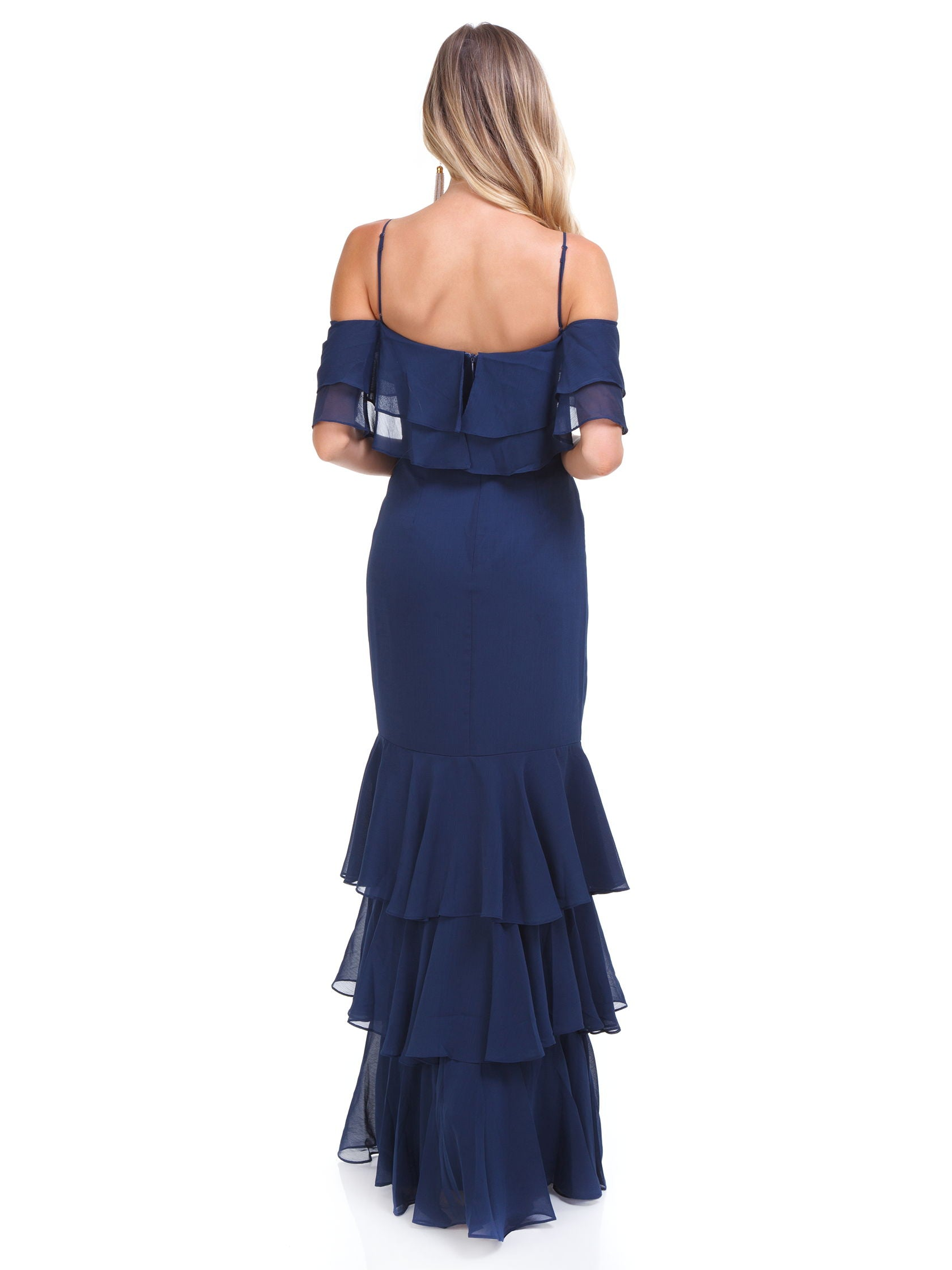 Women outfit in a dress rental from WAYF called Lauren Off Shoulder Ruffle Maxi Dress