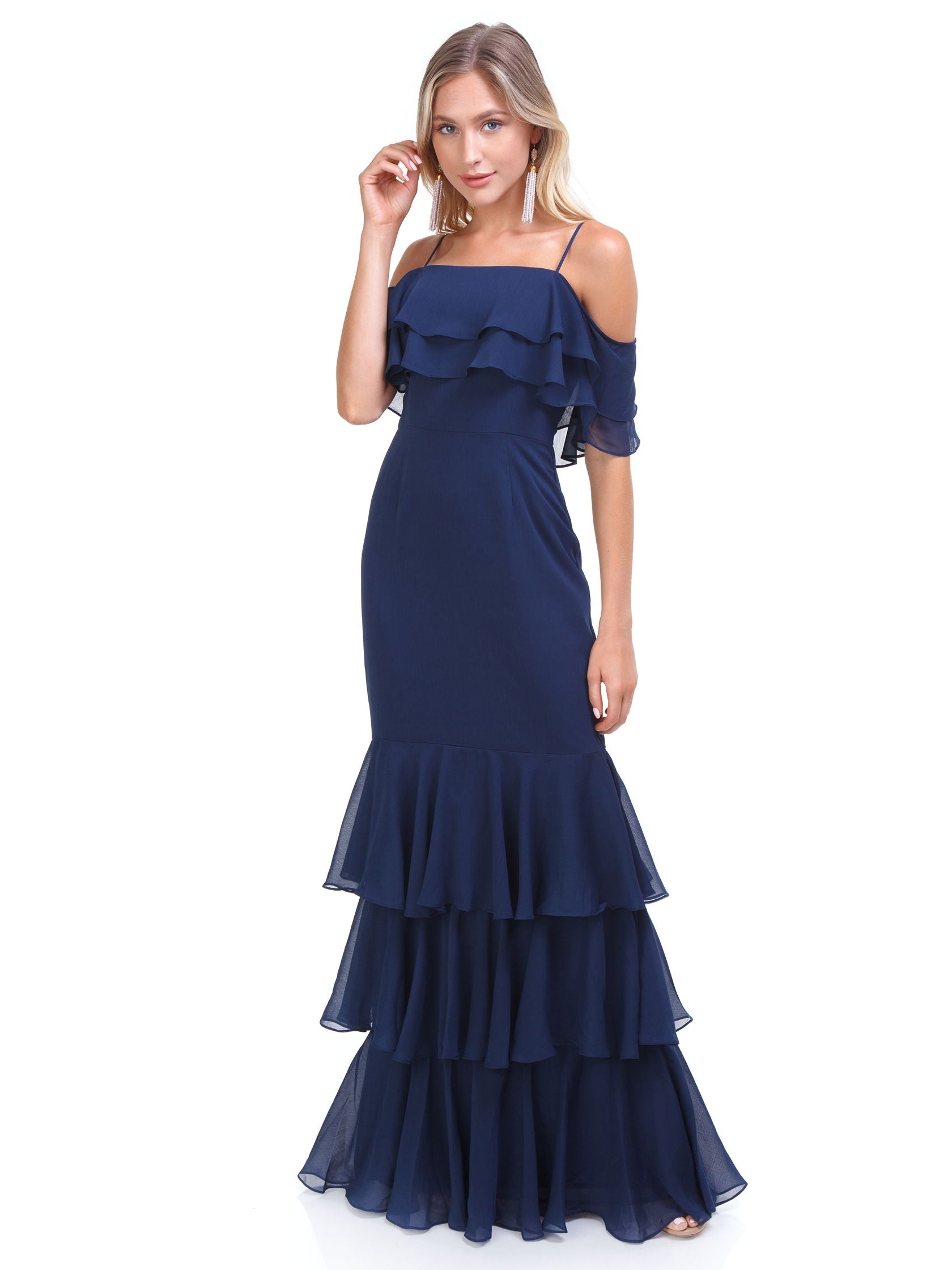 f8996d0d141 Girl outfit in a dress rental from WAYF called Lauren Off Shoulder Ruffle Maxi  Dress