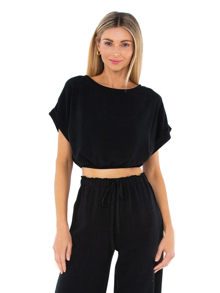Woman wearing a top rental from STILLWATER called Rosalie Crop Top