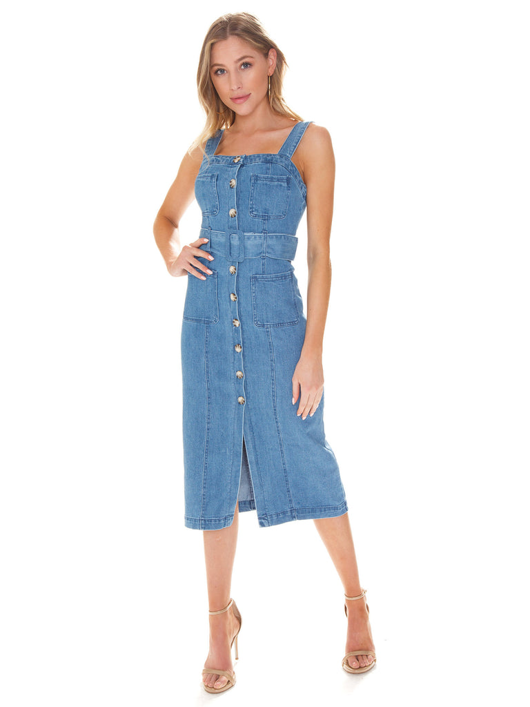 Woman wearing a dress rental from Show Me Your Mumu called Campbell High Slit Pants