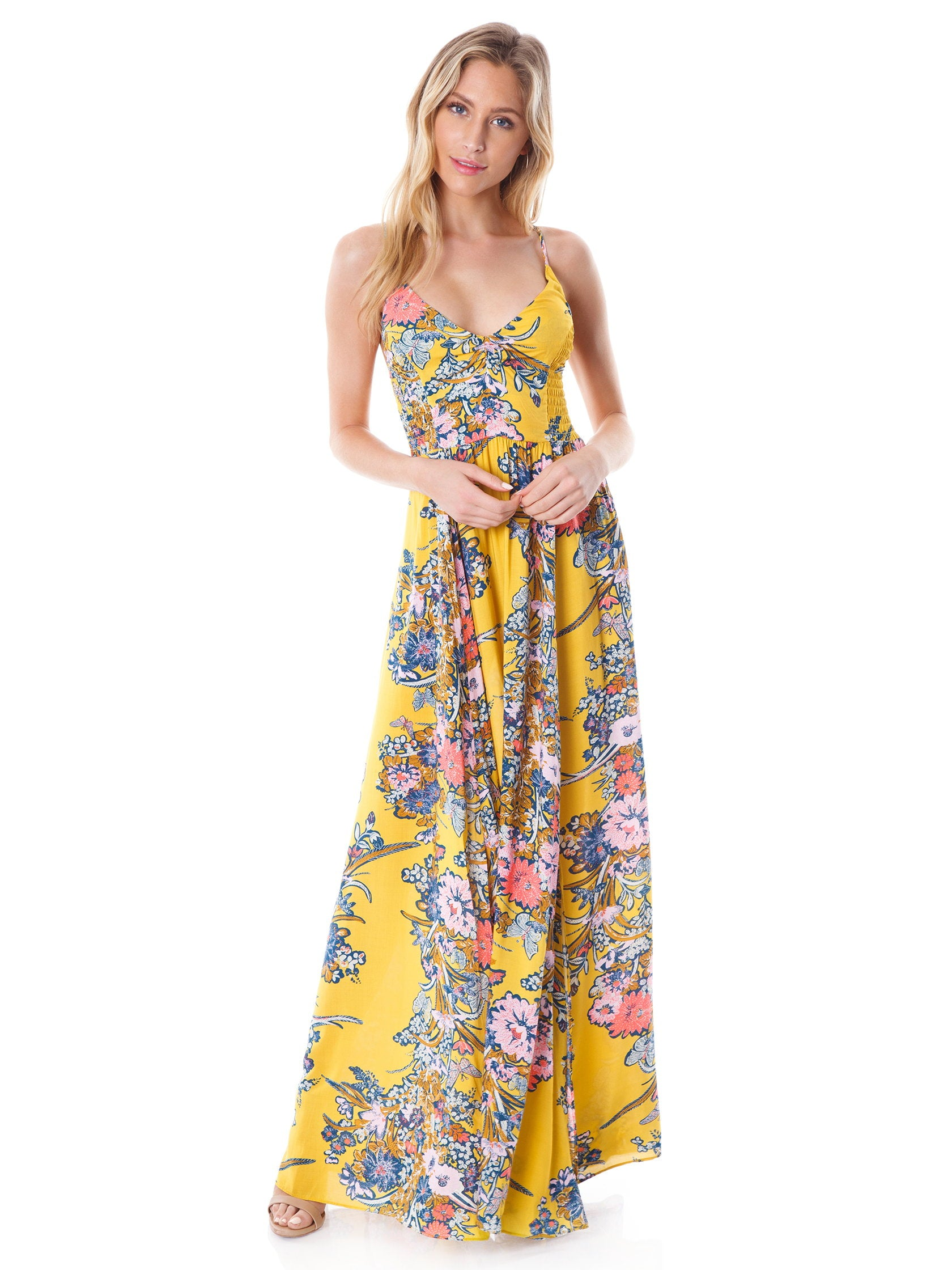 5915cbdf575a Girl outfit in a dress rental from Free People called Through The Vine  Printed Maxi Dress