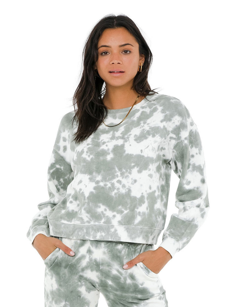 Woman wearing a sweatshirt rental from 525 called Meghan Dress