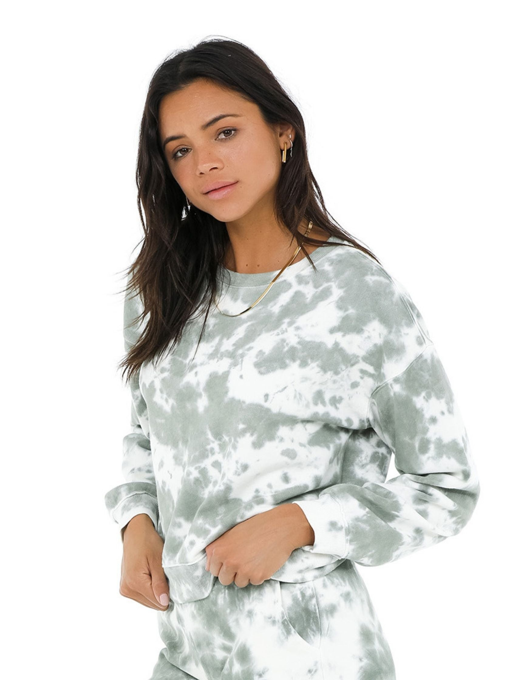 Women wearing a sweatshirt rental from 525 called Tie Dye Basic Crew