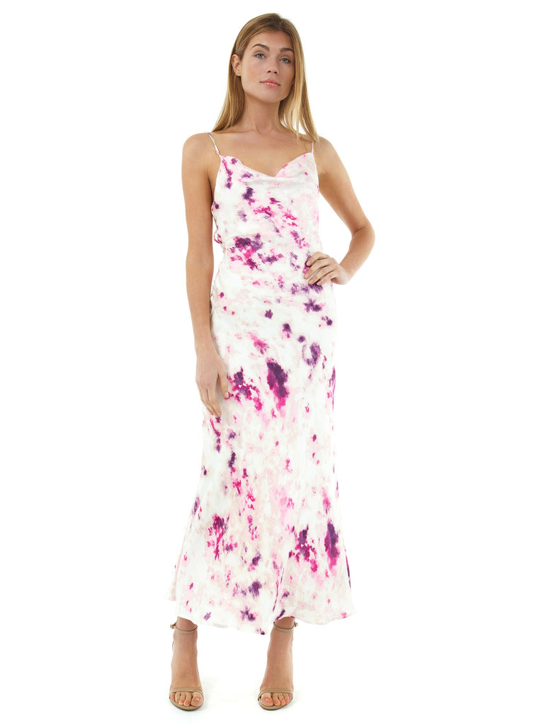 Girl wearing a dress rental from BARDOT called Full Bloom Maxi