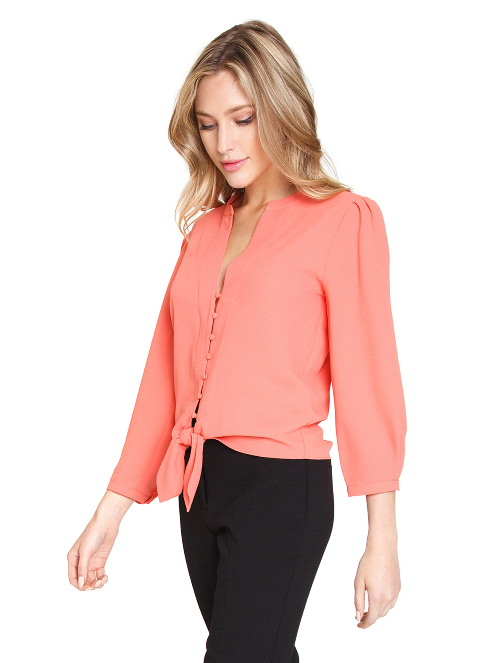 Women wearing a top rental from 1.STATE called Tie Front Blouse