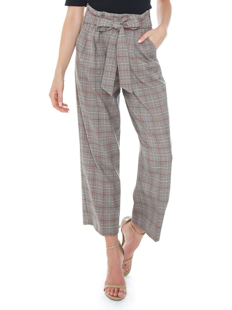 Women wearing a pants rental from 1.STATE called Tie Waist Acoustic Plaid Wide Leg Pant