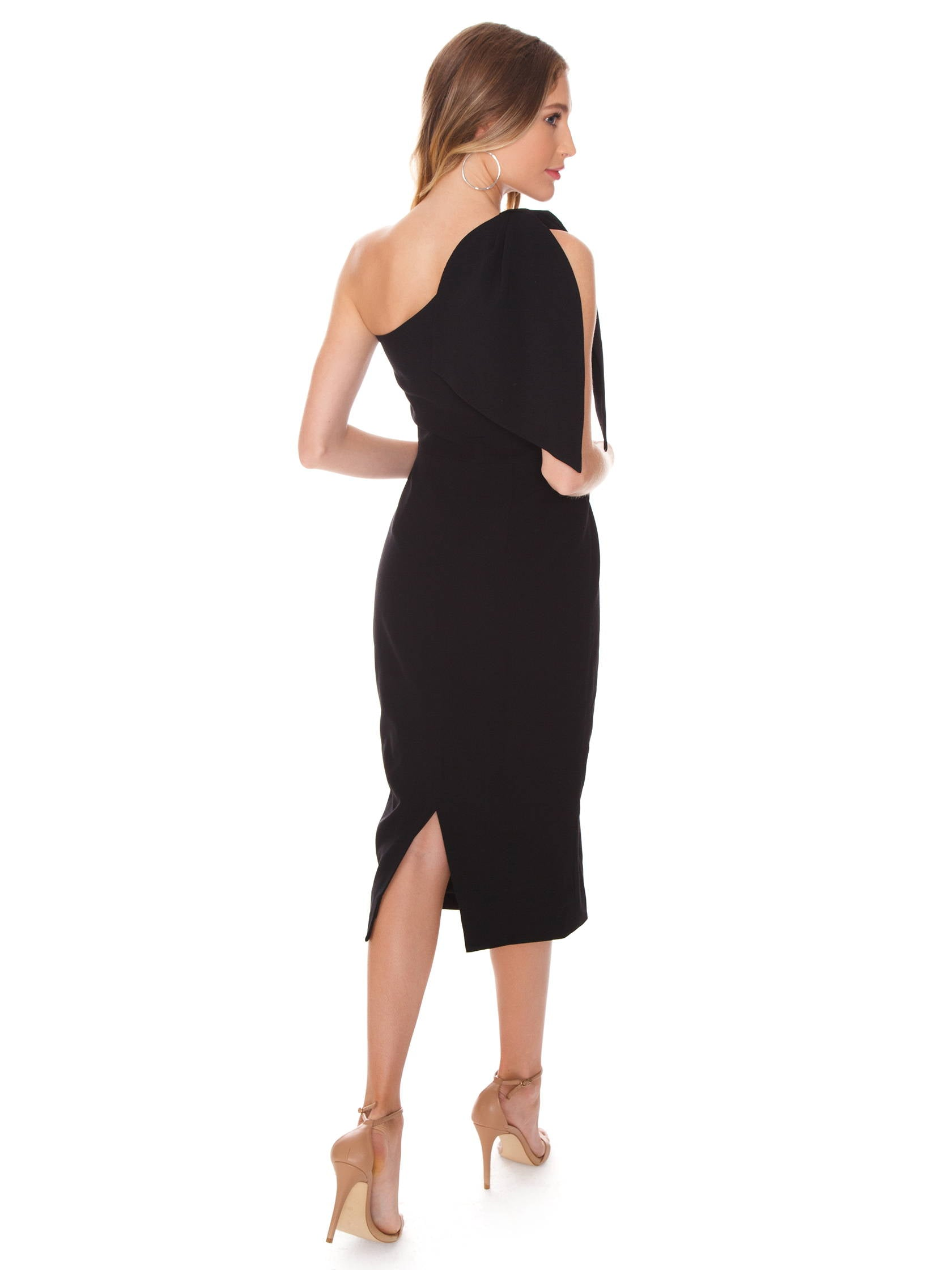 Women wearing a dress rental from Dress the Population called Tiffany One-shoulder Midi Dress