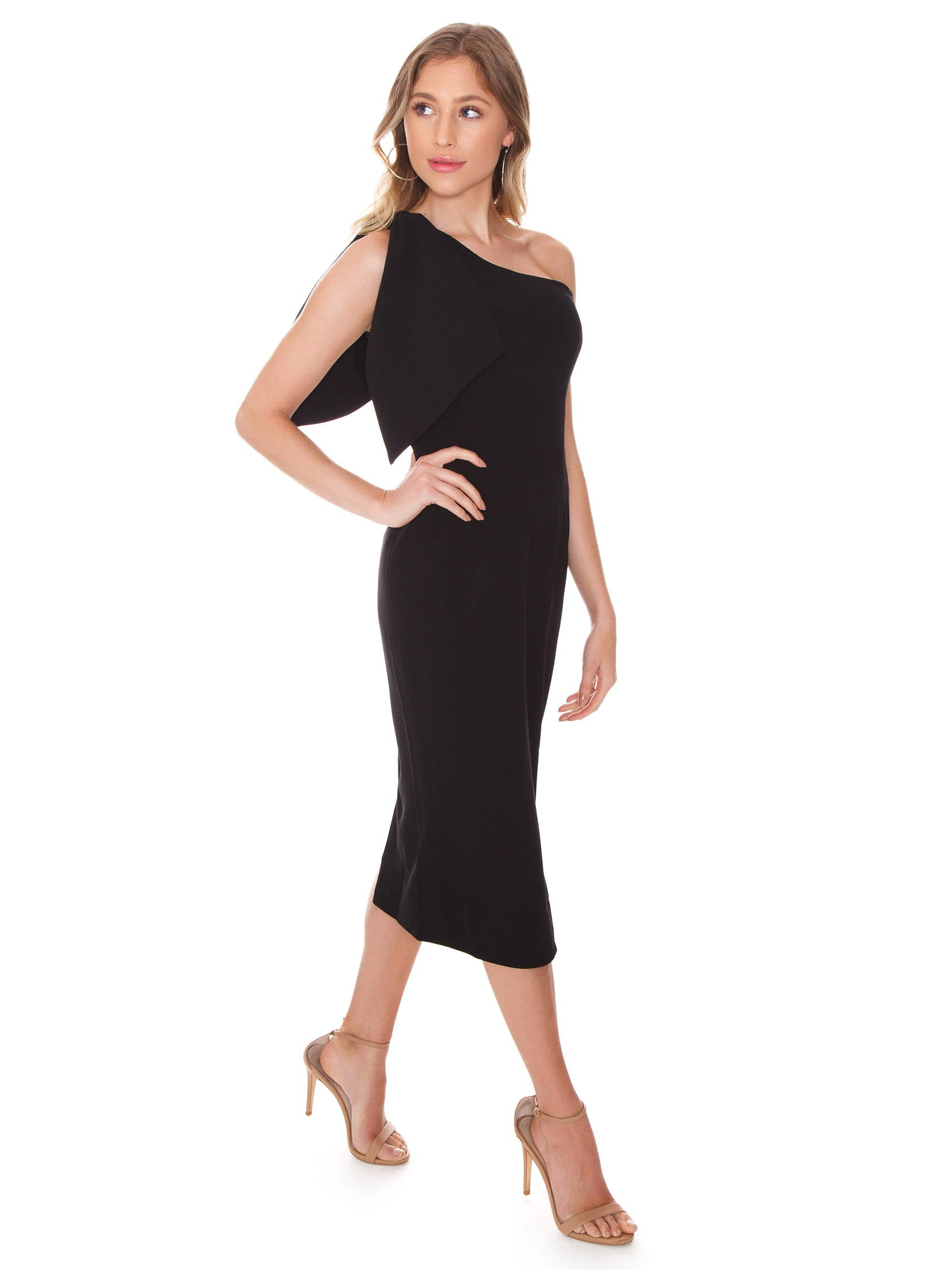 Woman wearing a dress rental from Dress the Population called Tiffany One-shoulder Midi Dress