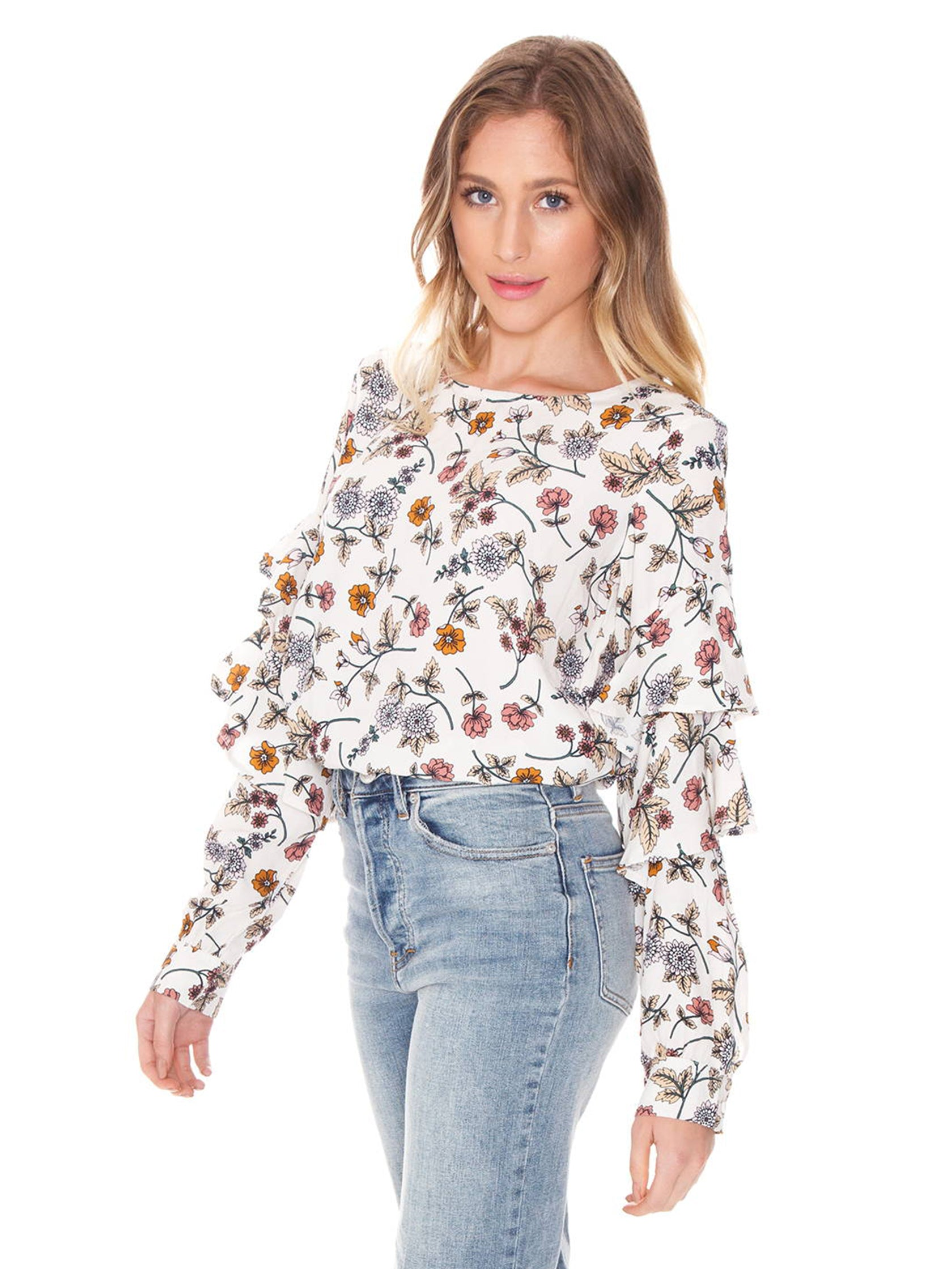 Women wearing a top rental from SANCTUARY called Tilly Flounce Sleeve Blouse