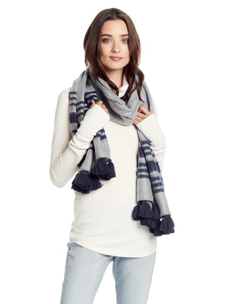 Women wearing a scarf rental from Michael Stars called Toasty Tassels Wrap