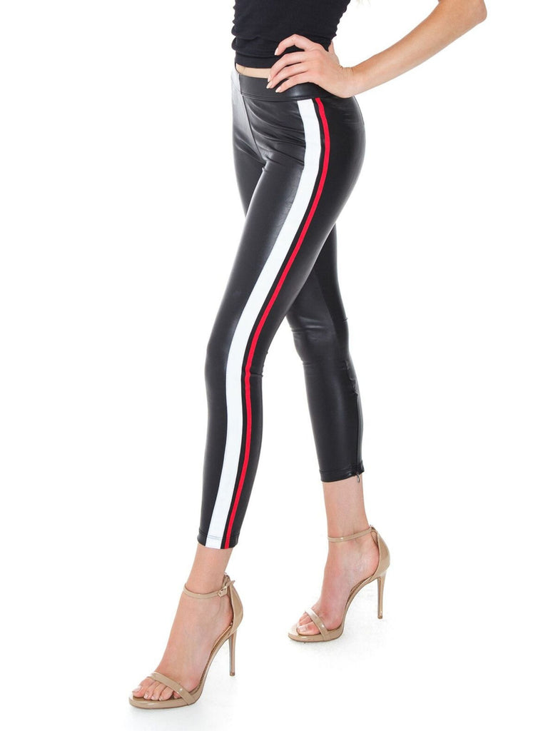 Women wearing a leggings rental from DAVID LERNER called Bella Metallic Crop Puffer