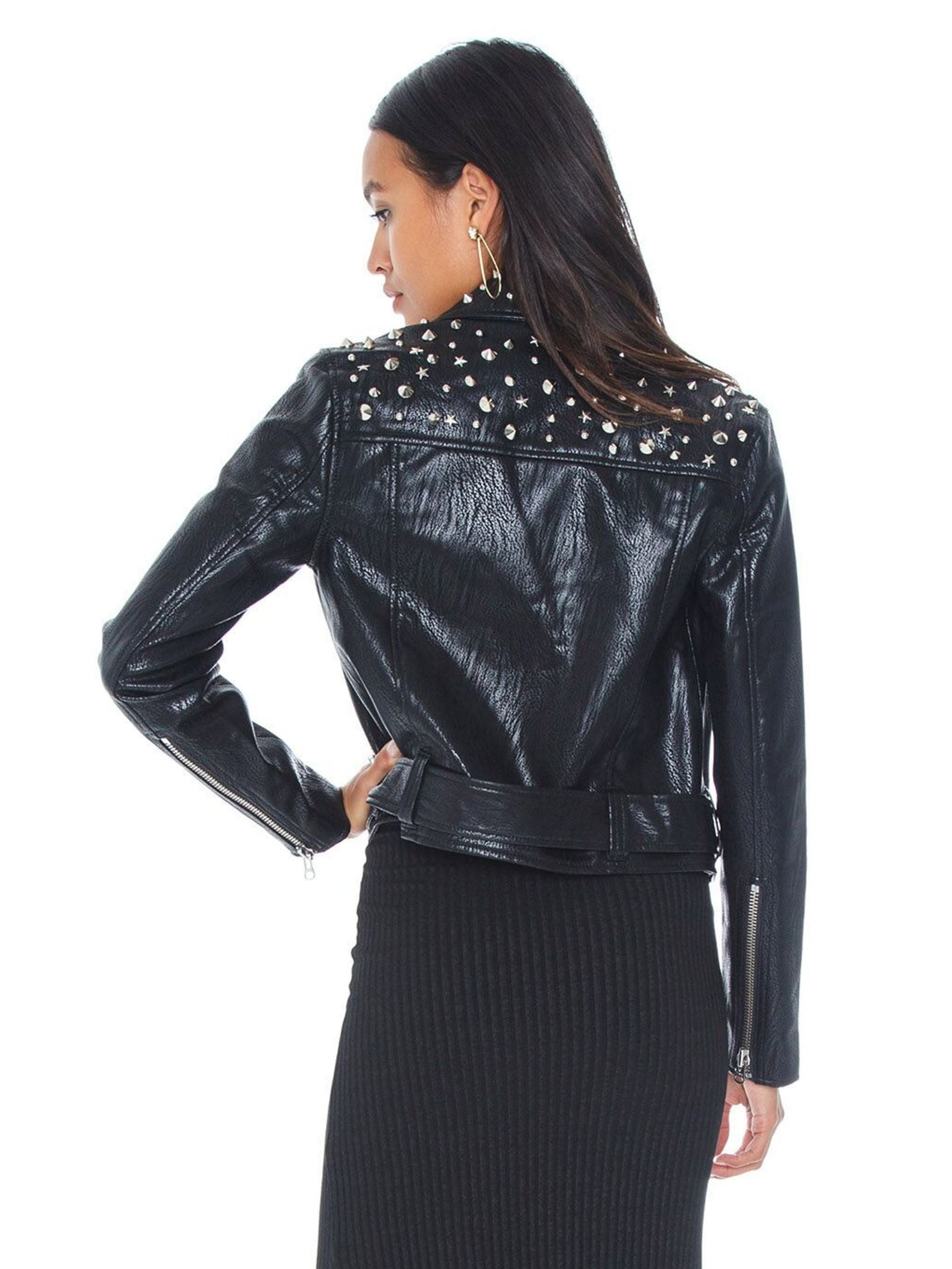 Women outfit in a jacket rental from PISTOLA called Tracy Cropped Moto Jacket