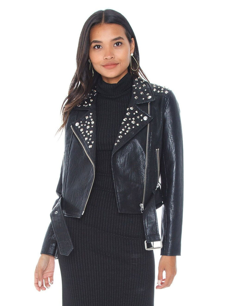 Woman wearing a jacket rental from PISTOLA called Tracy Cropped Moto Jacket