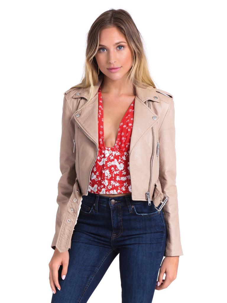 Women outfit in a jacket rental from PISTOLA called Audrey Mid Rise Skinny Jeans