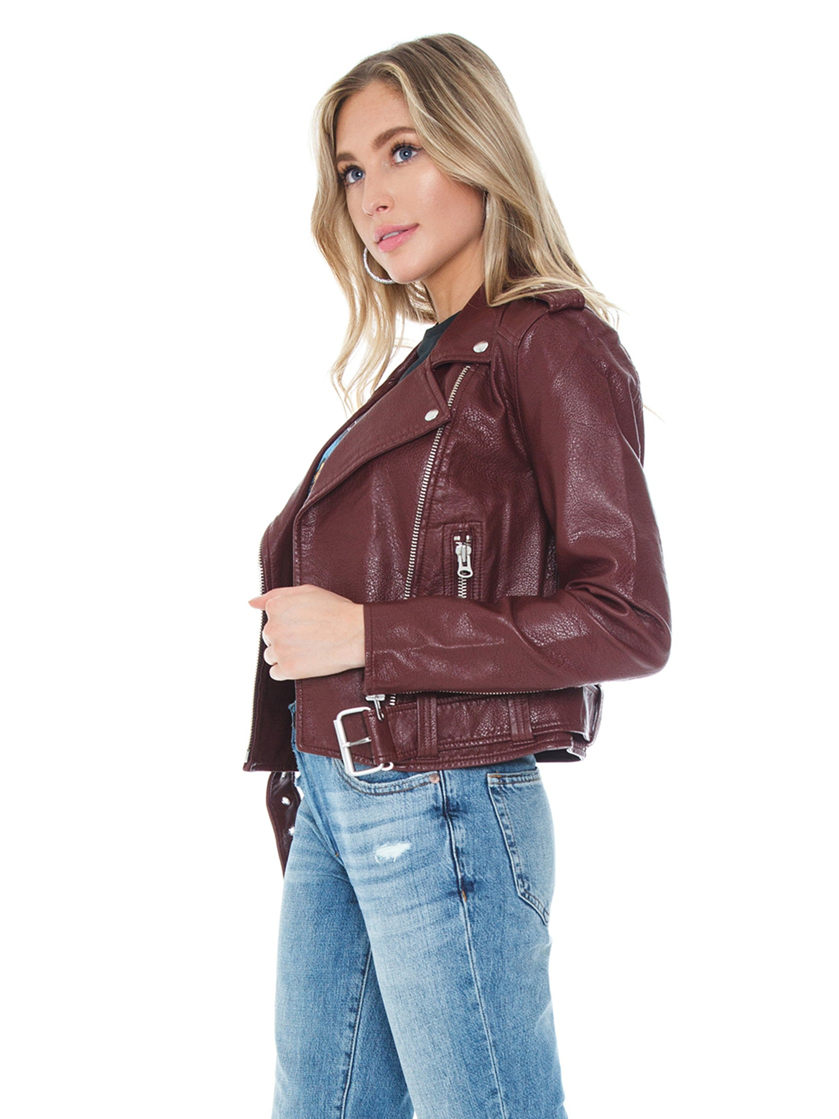 Women wearing a jacket rental from PISTOLA called Tracy Cropped Moto Jacket