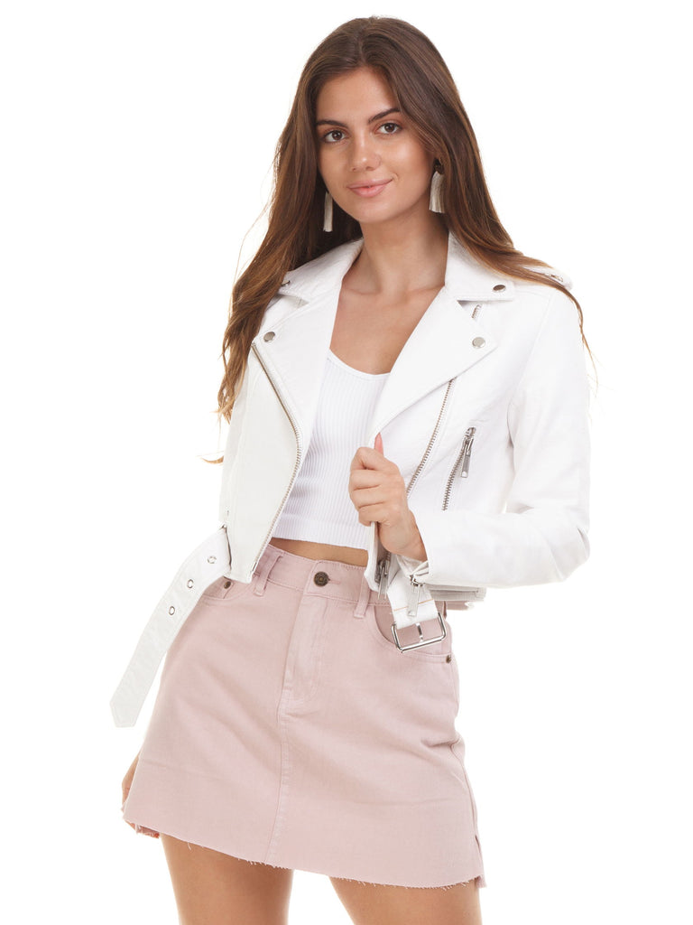 Women wearing a jacket rental from PISTOLA called Sierra High Rise Fold Over Pencil Skirt