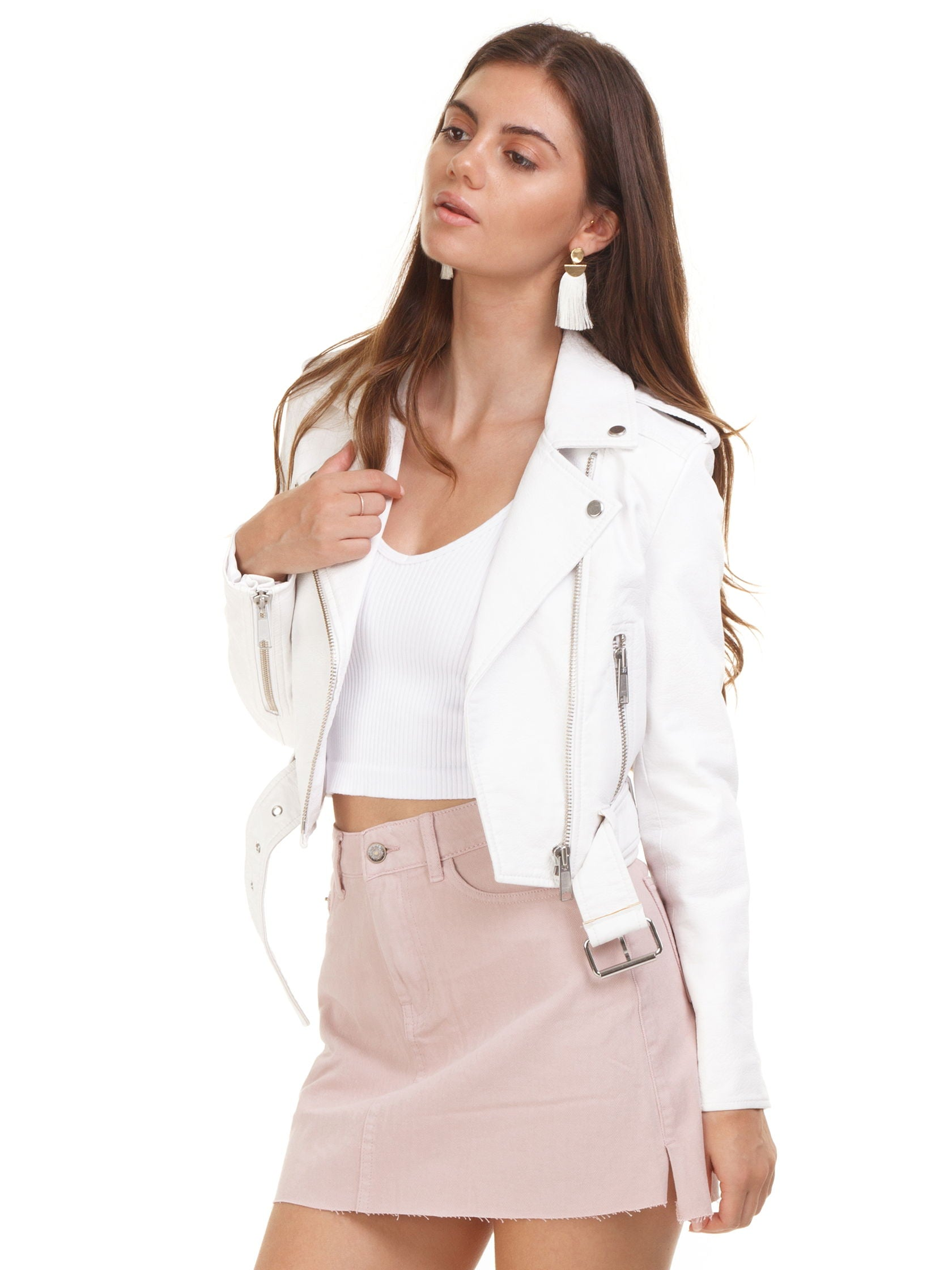 Women wearing a jacket rental from PISTOLA called Tracy Moto Cropped Jacket