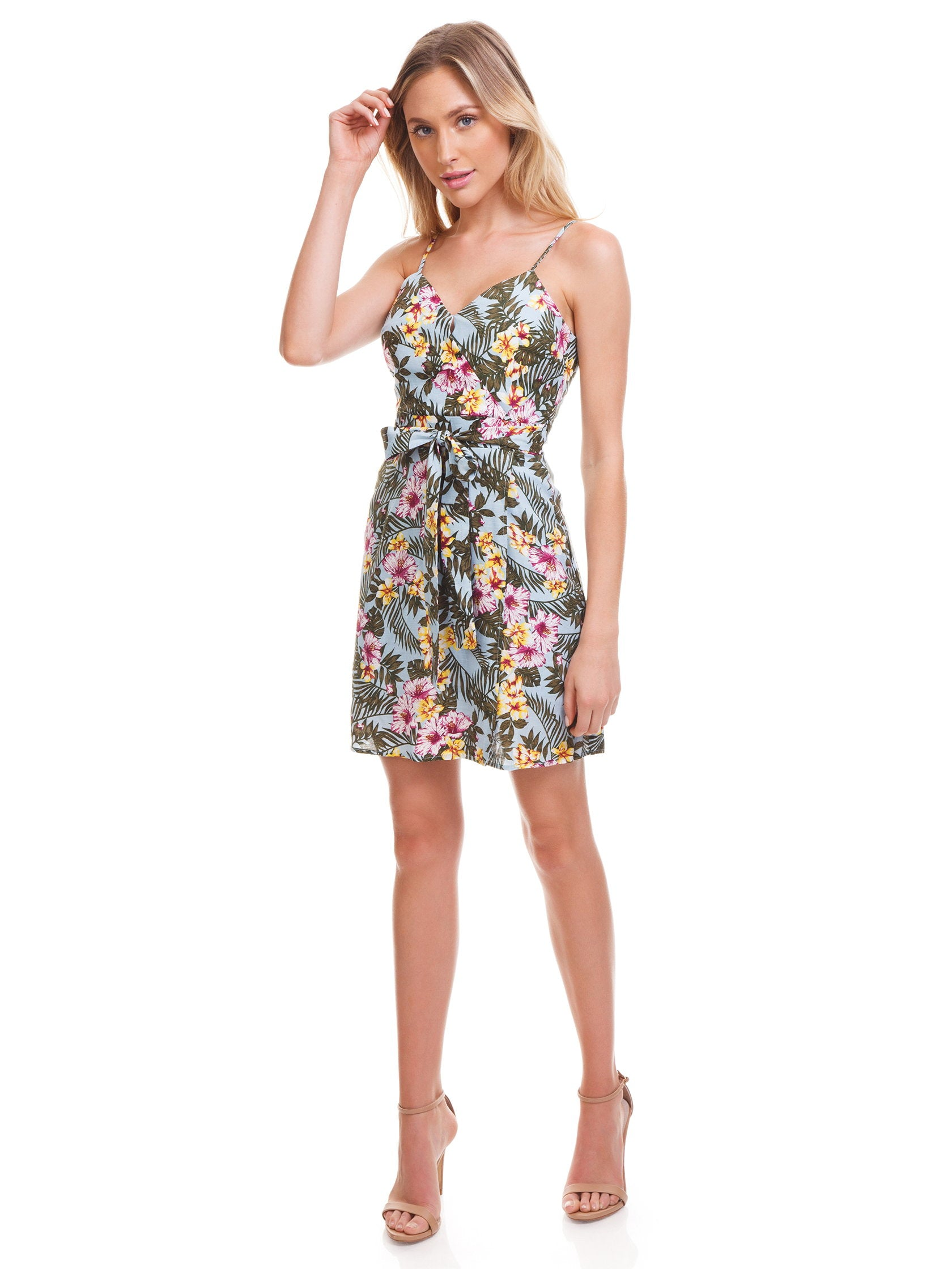 Girl outfit in a dress rental from J.O.A. called Tropical Print Faux Wrap Dress