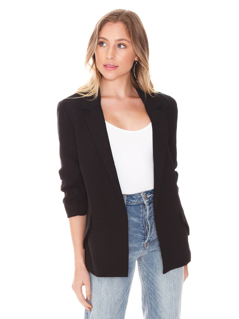 Women wearing a blazer rental from BARDOT called Tuck Sleeve Blazer