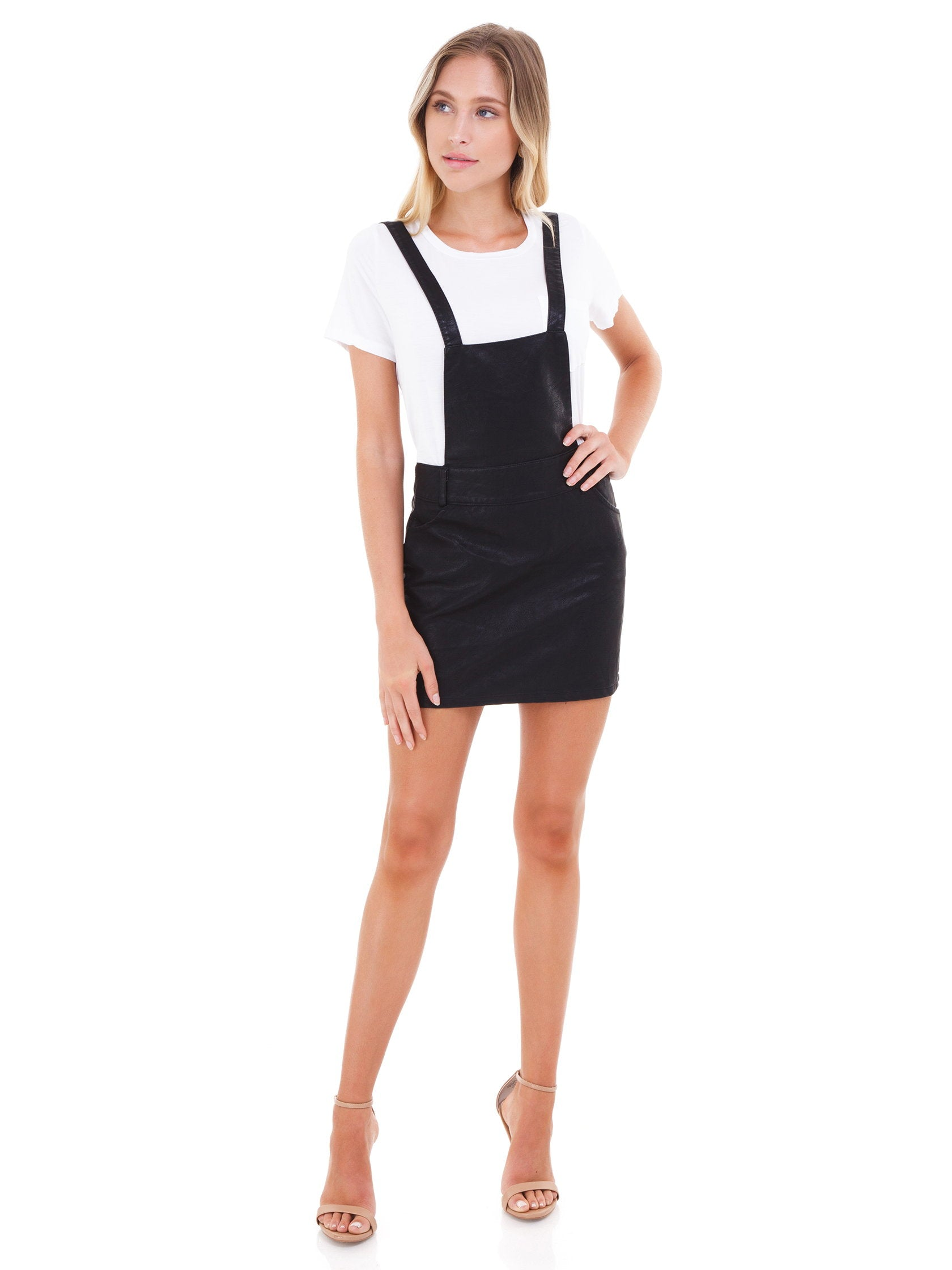 Girl outfit in a dress rental from BB Dakota called Twice Shy Leather Pinafore