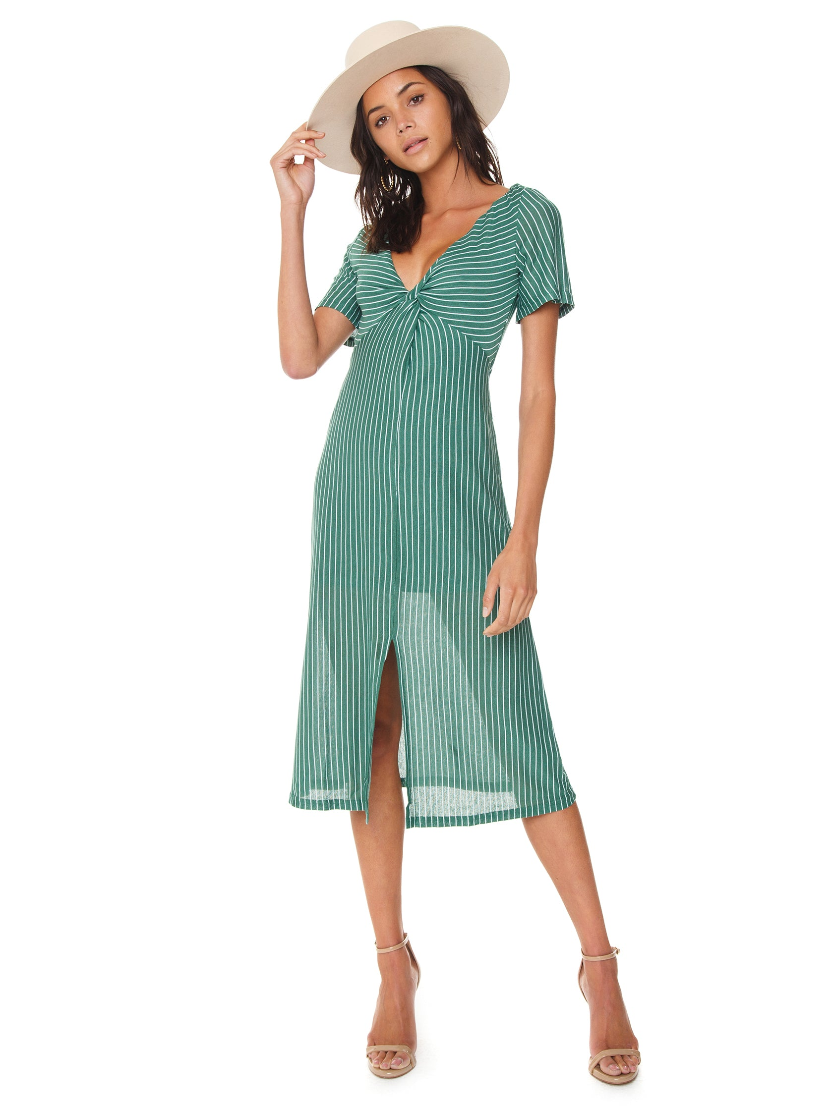 e63e58aa14 Women outfit in a dress rental from MINKPINK called Twist Front Midi Dress
