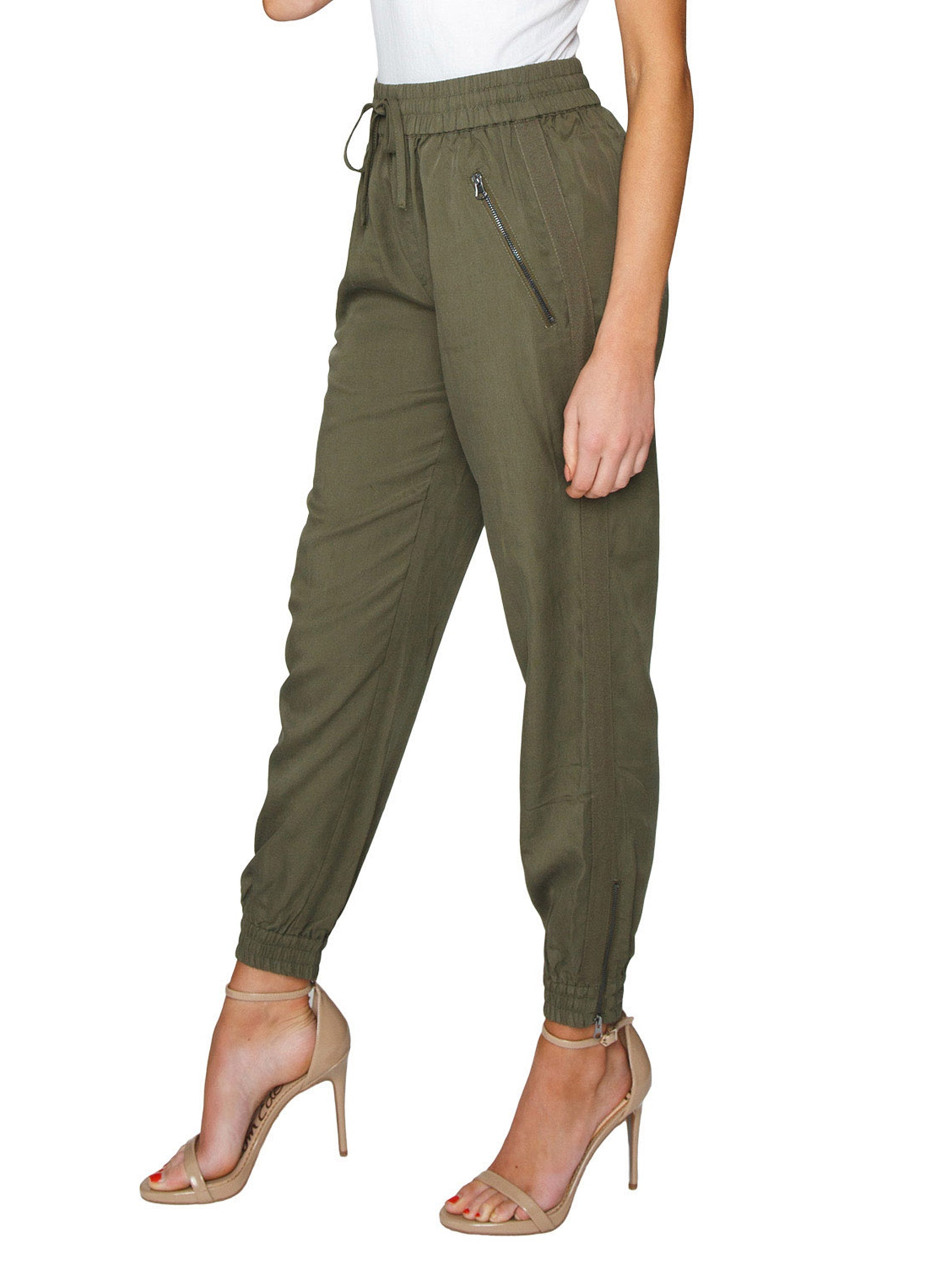 Women wearing a pants rental from FashionPass called Utility Jogger Pants