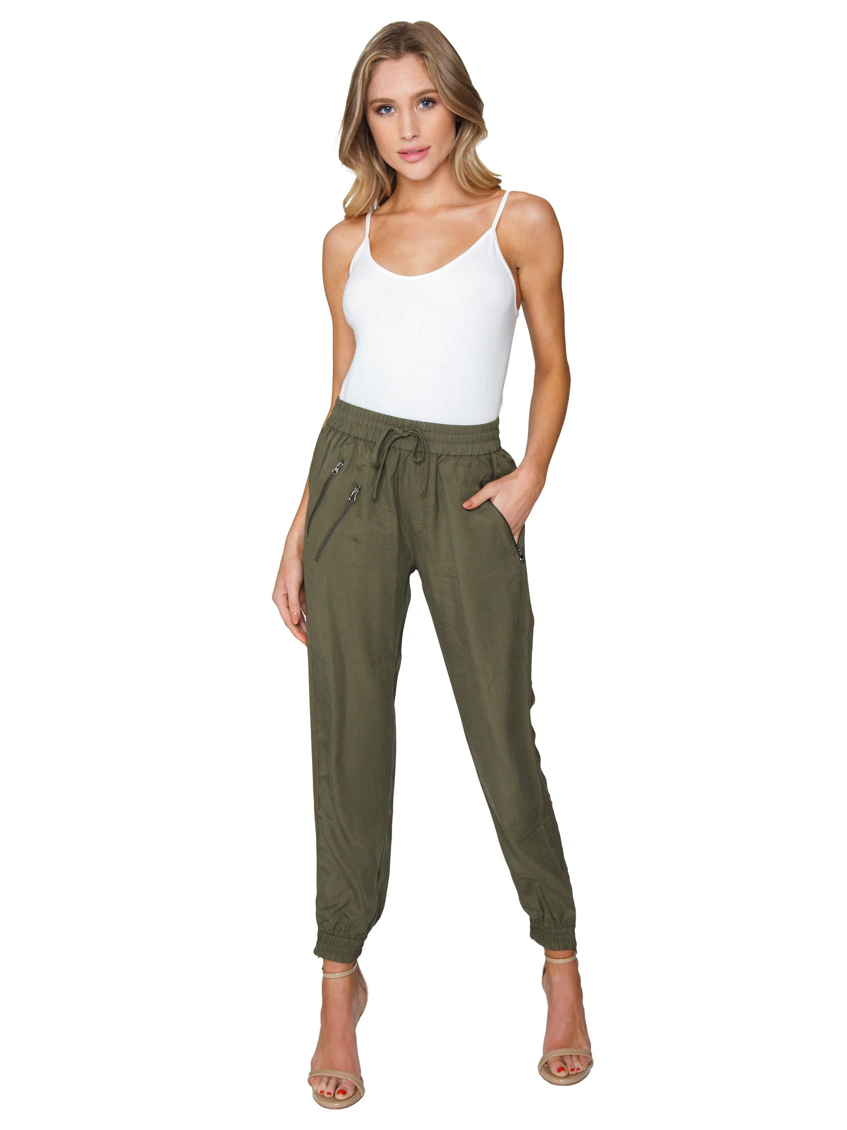 Girl wearing a pants rental from FashionPass called Utility Jogger Pants