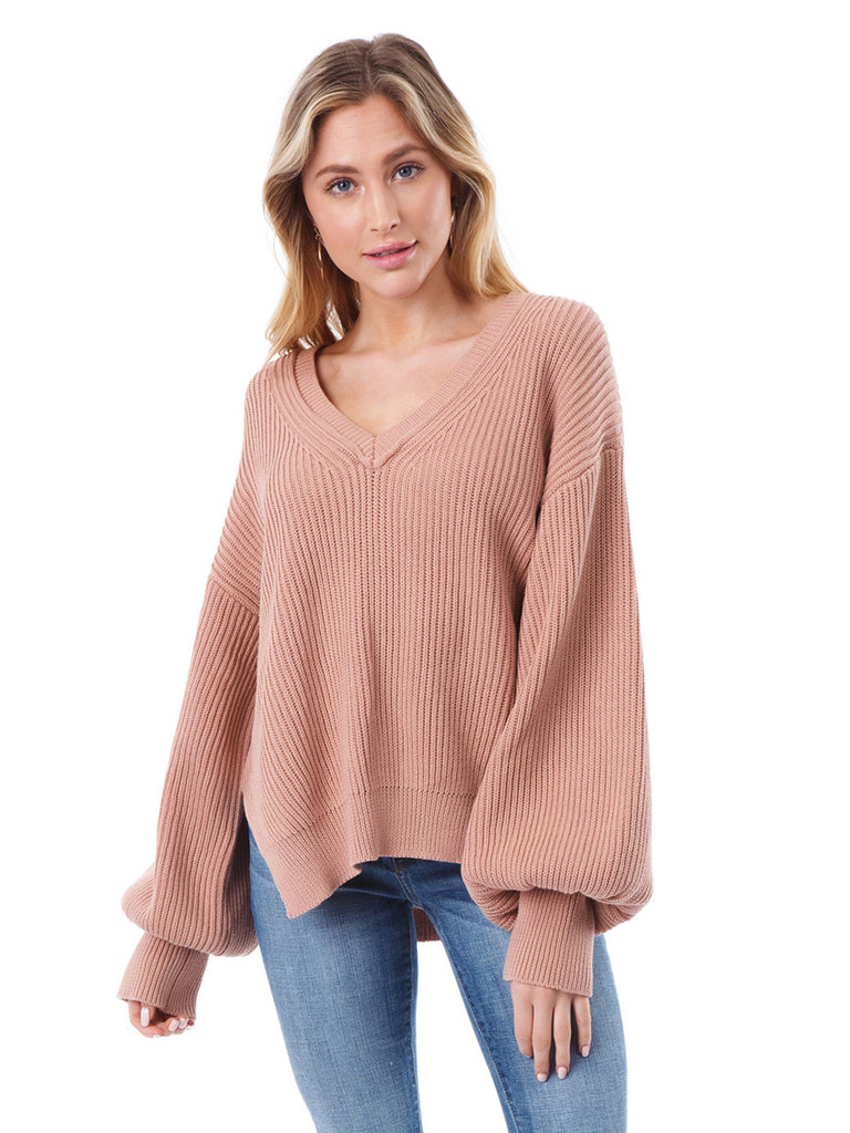Girl outfit in a sweater rental from Lush called V-neck Ruffle Sleeve Top