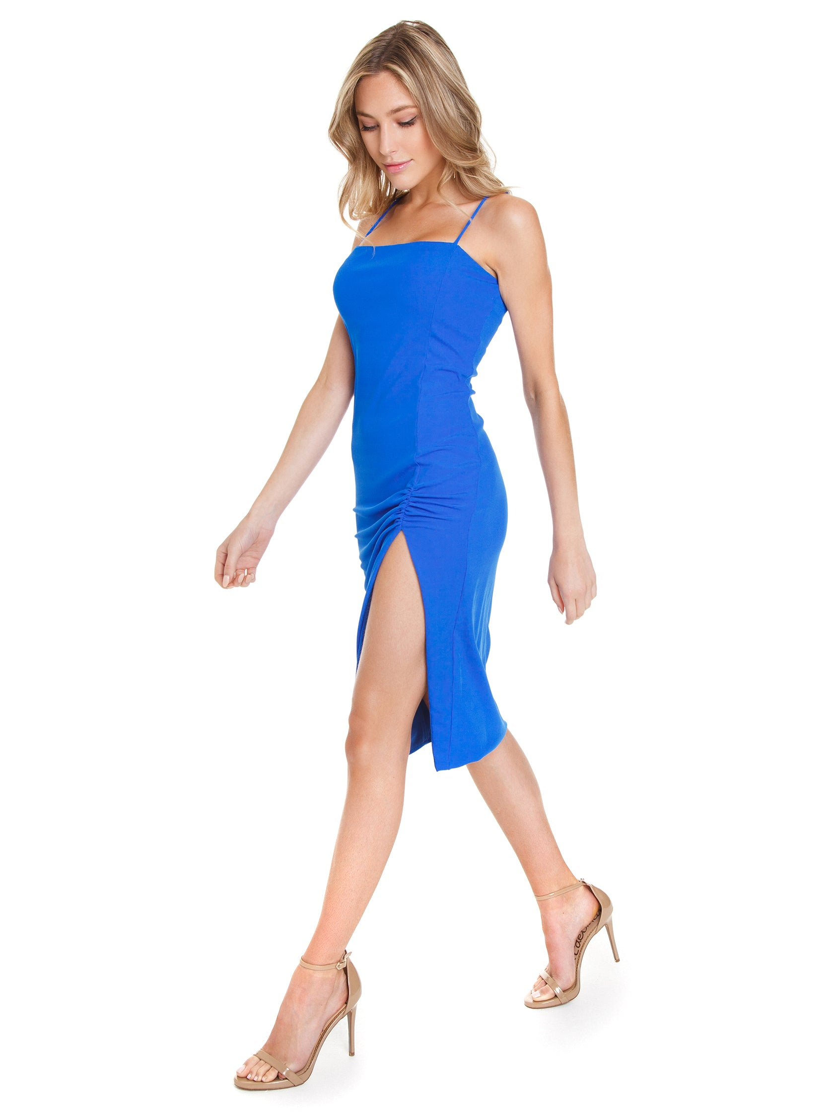 Women wearing a dress rental from FLETCH called Valentina Rib Bodycon Dress