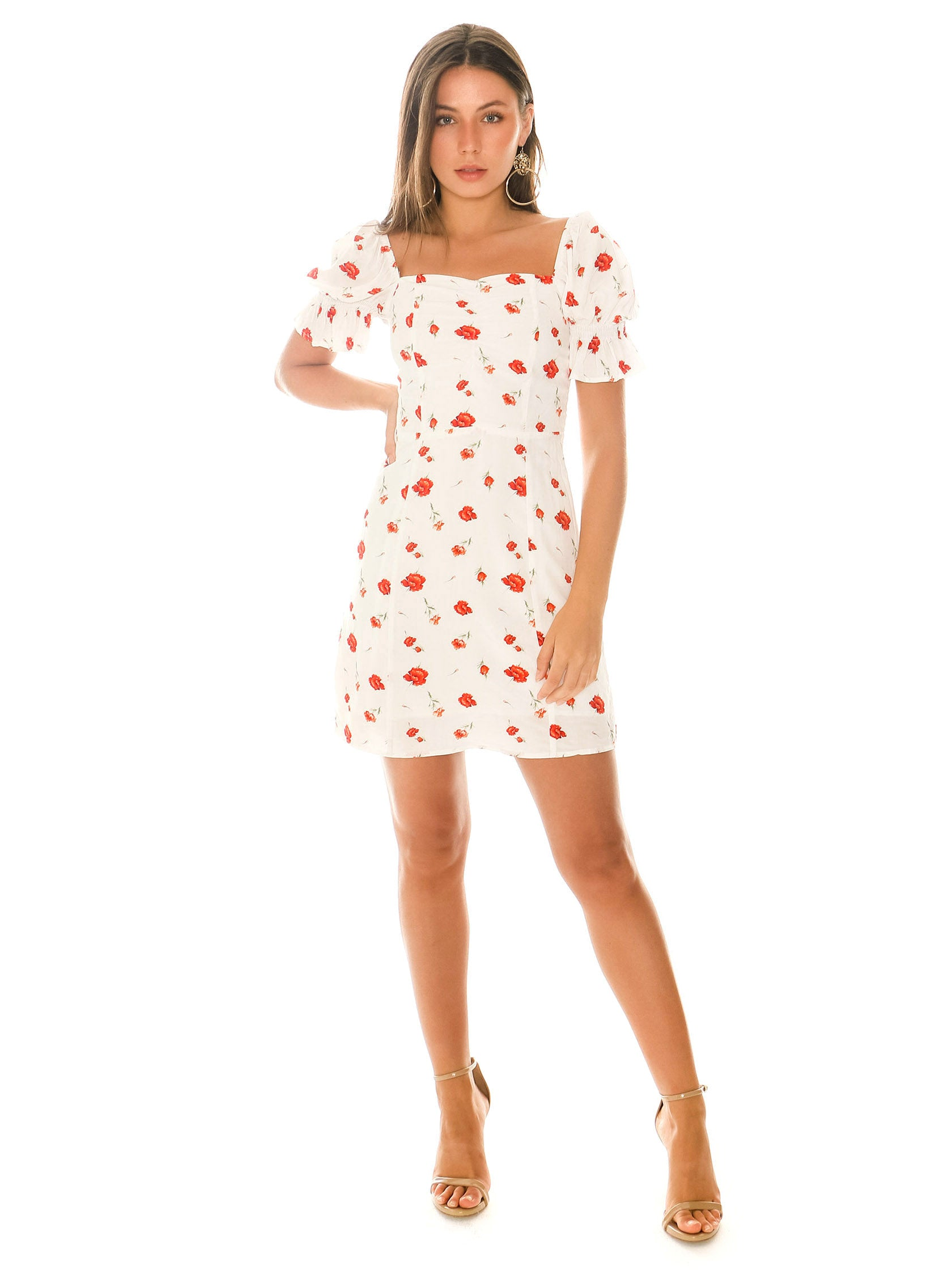 Girl outfit in a dress rental from Charlie Holiday called Valentine Floral Mini Dress