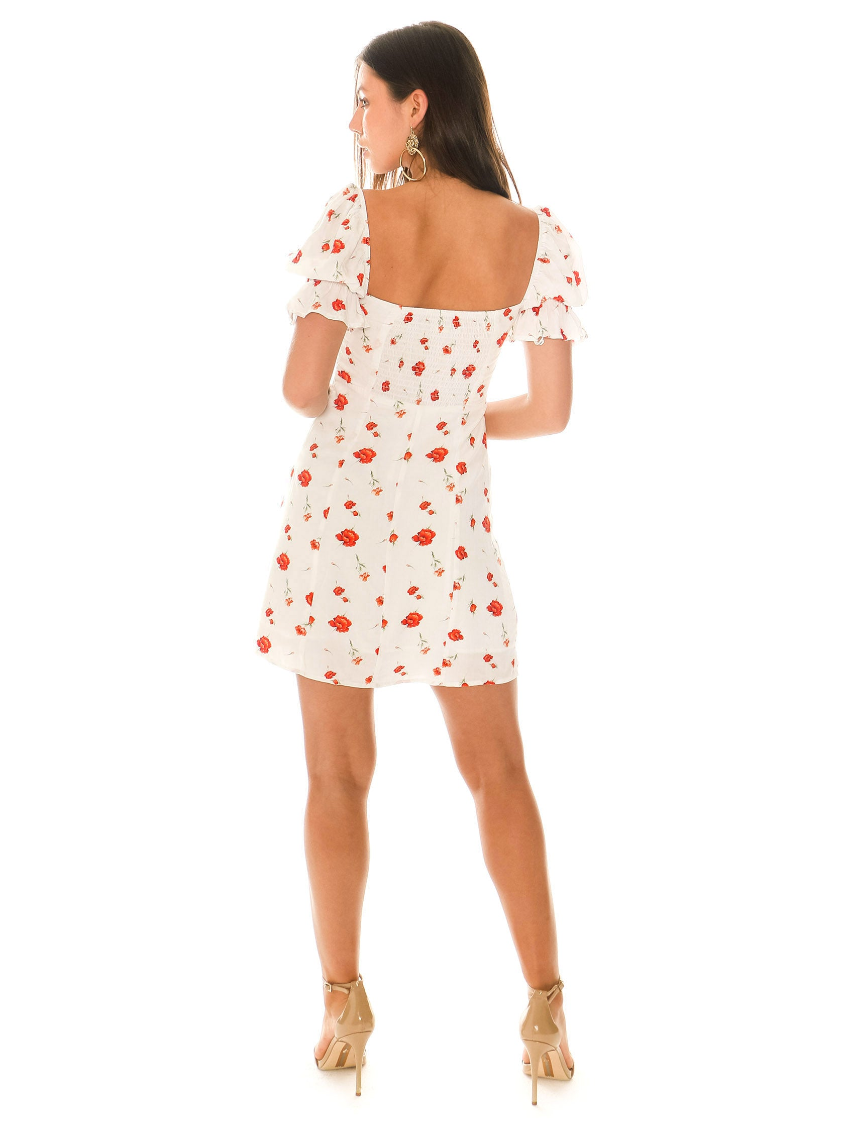 Women wearing a dress rental from Charlie Holiday called Valentine Floral Mini Dress