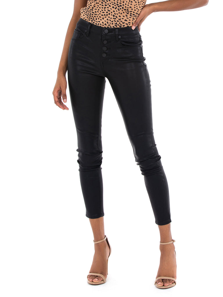 Women wearing a pants rental from BLANKNYC called Vegan Leather Daddy Soda Pant