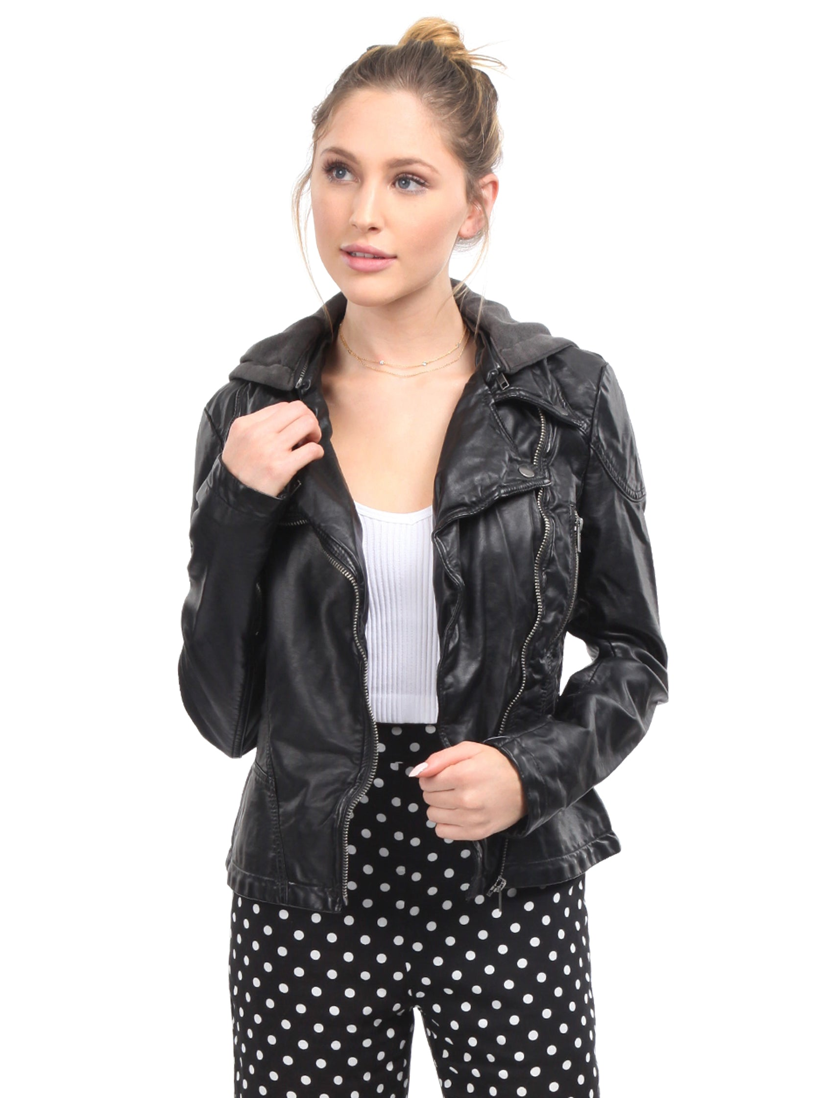 2e8aa4740a5 Girl outfit in a jacket rental from Free People called Vegan Leather Hooded  Jacket