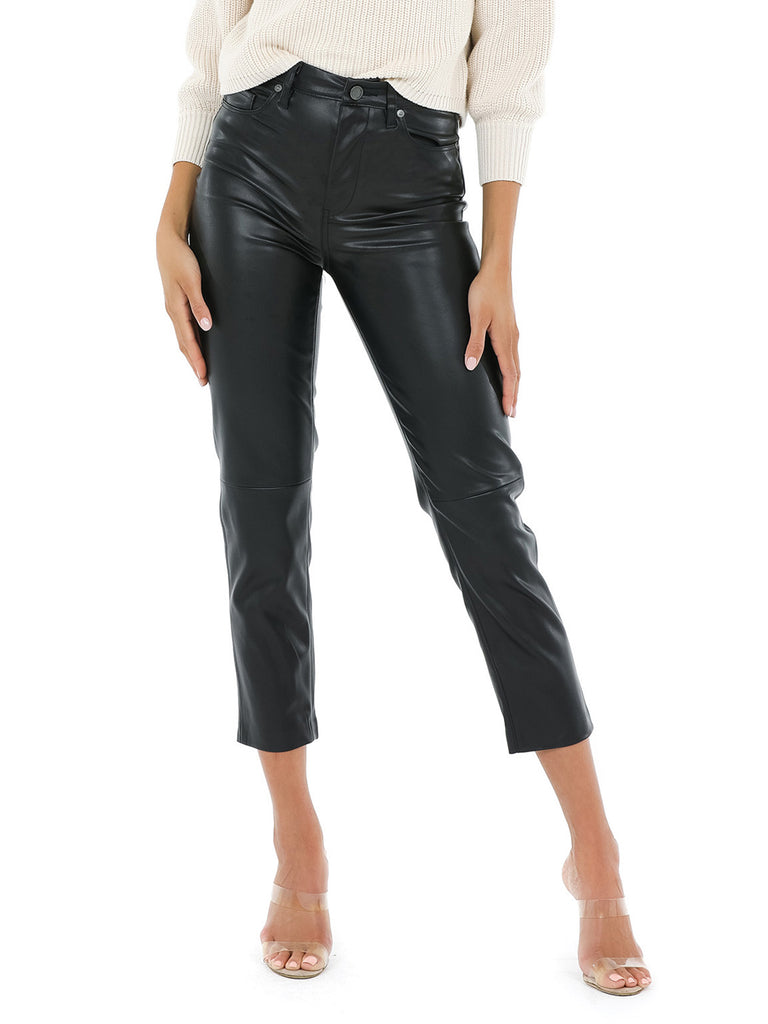 Women wearing a pants rental from BLANKNYC called Vegan Leather Straight Leg Pant