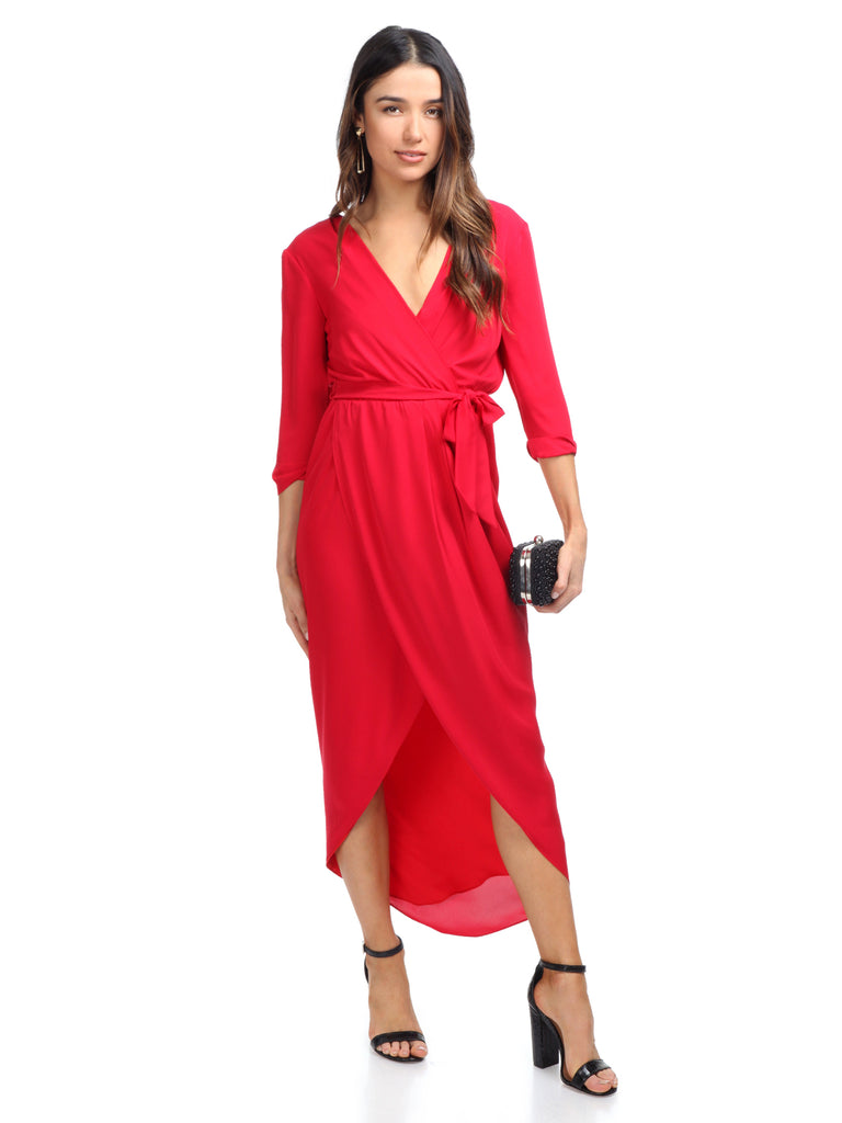 Women outfit in a dress rental from Amanda Uprichard called Cherri Gown