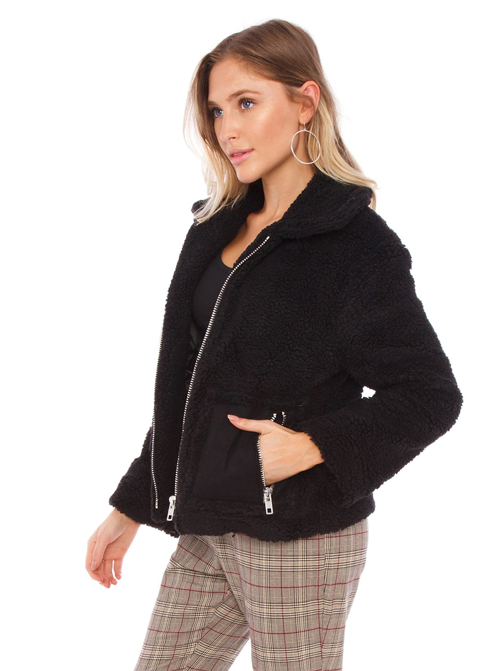 Woman wearing a jacket rental from J.O.A. called Teddy Faux Fur Jacket