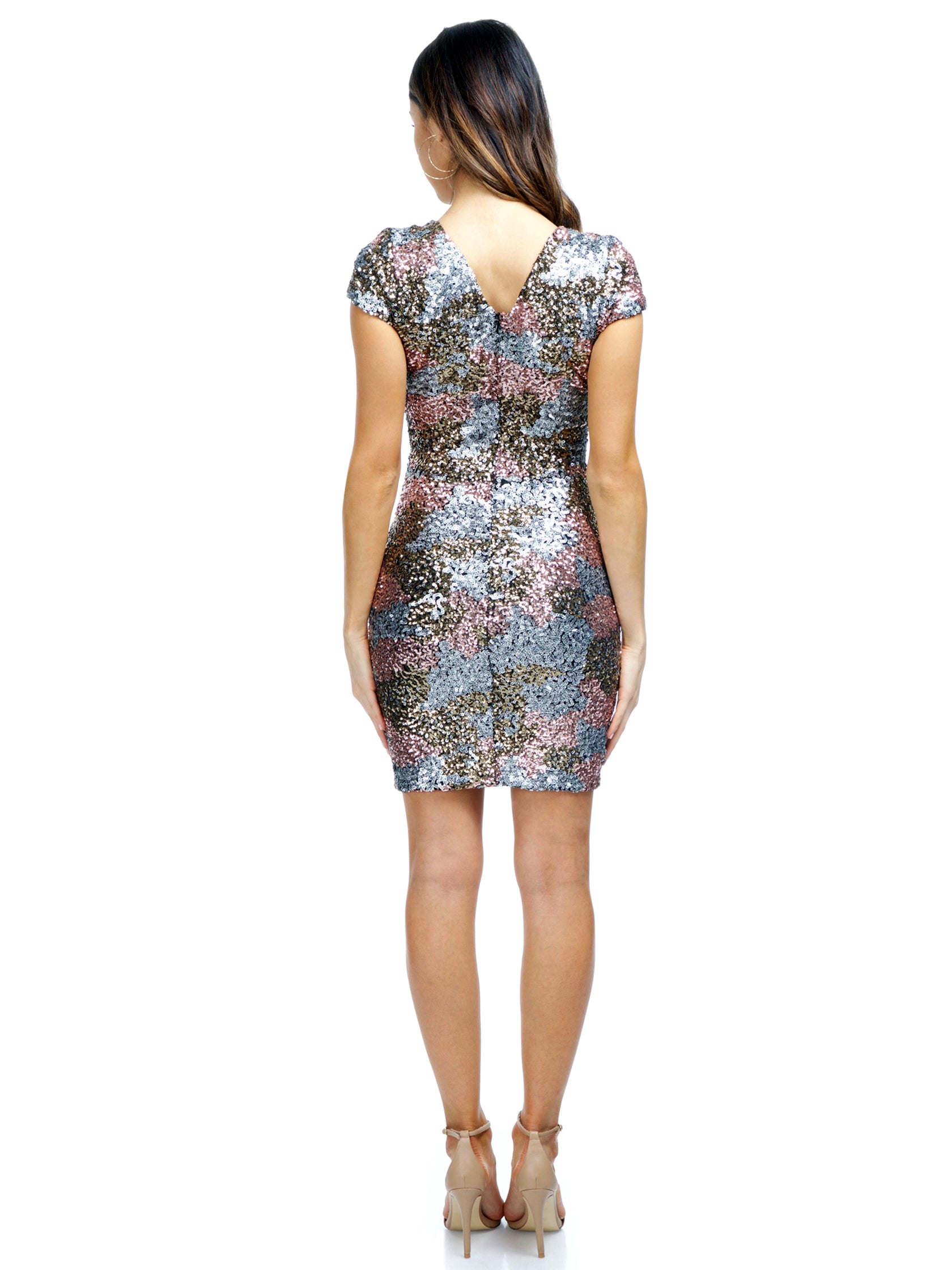 Women wearing a dress rental from Dress the Population called Victoria Sequin Dress
