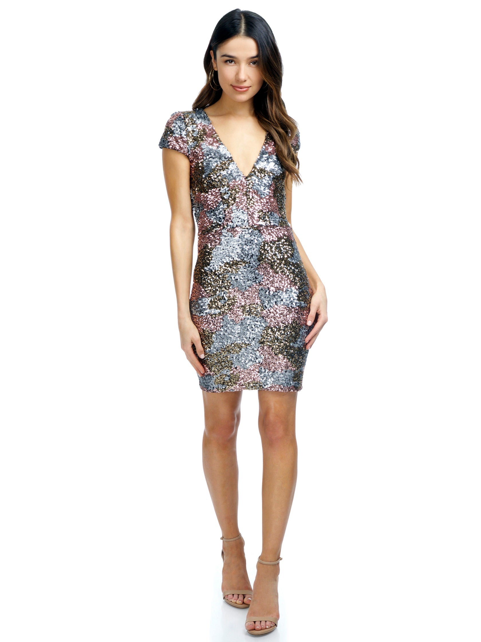 Girl outfit in a dress rental from Dress the Population called Victoria Sequin Dress