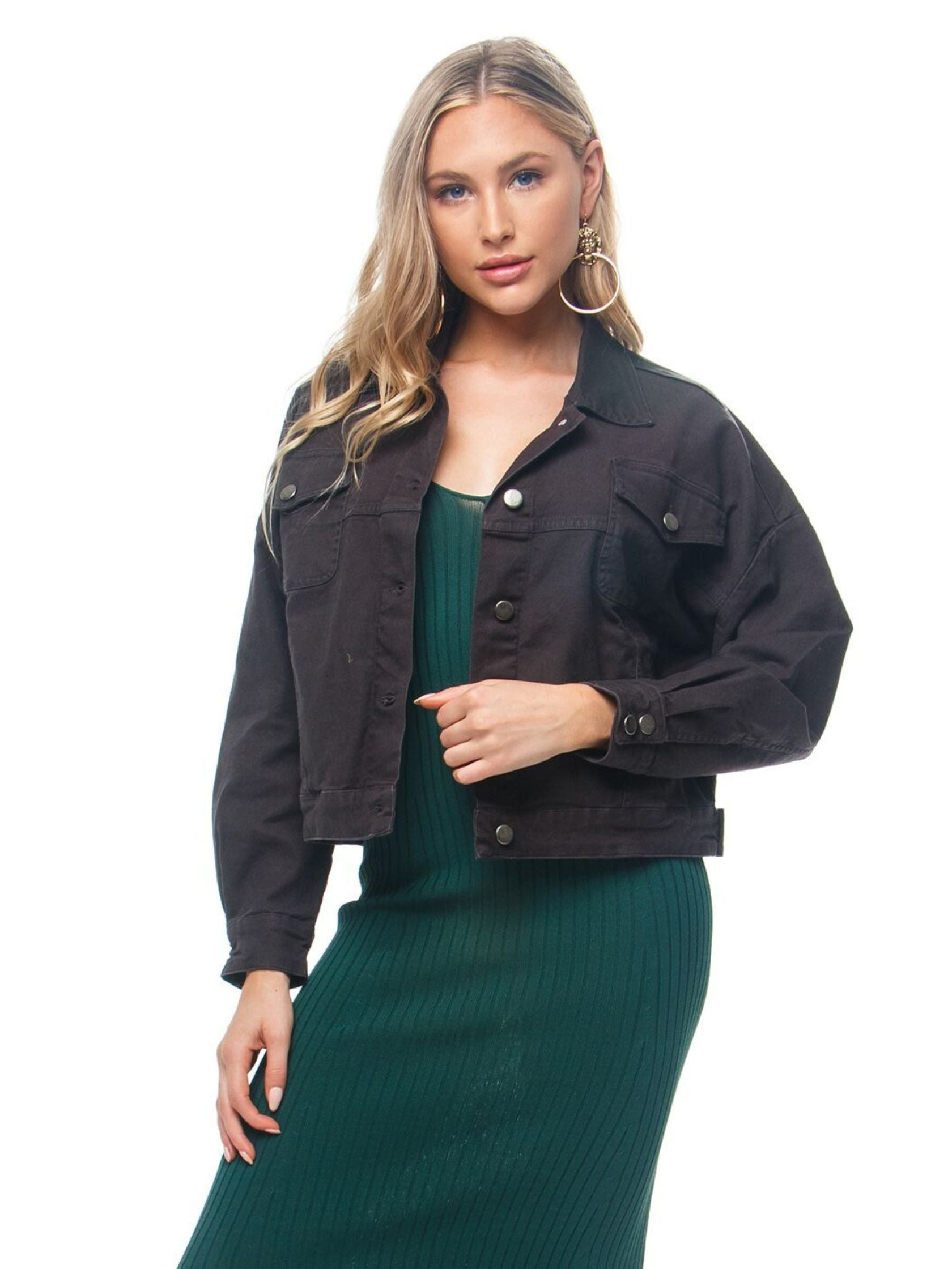 Woman wearing a jacket rental from Chaser called Vintage Canvas Drop Shoulder Trucker Jacket