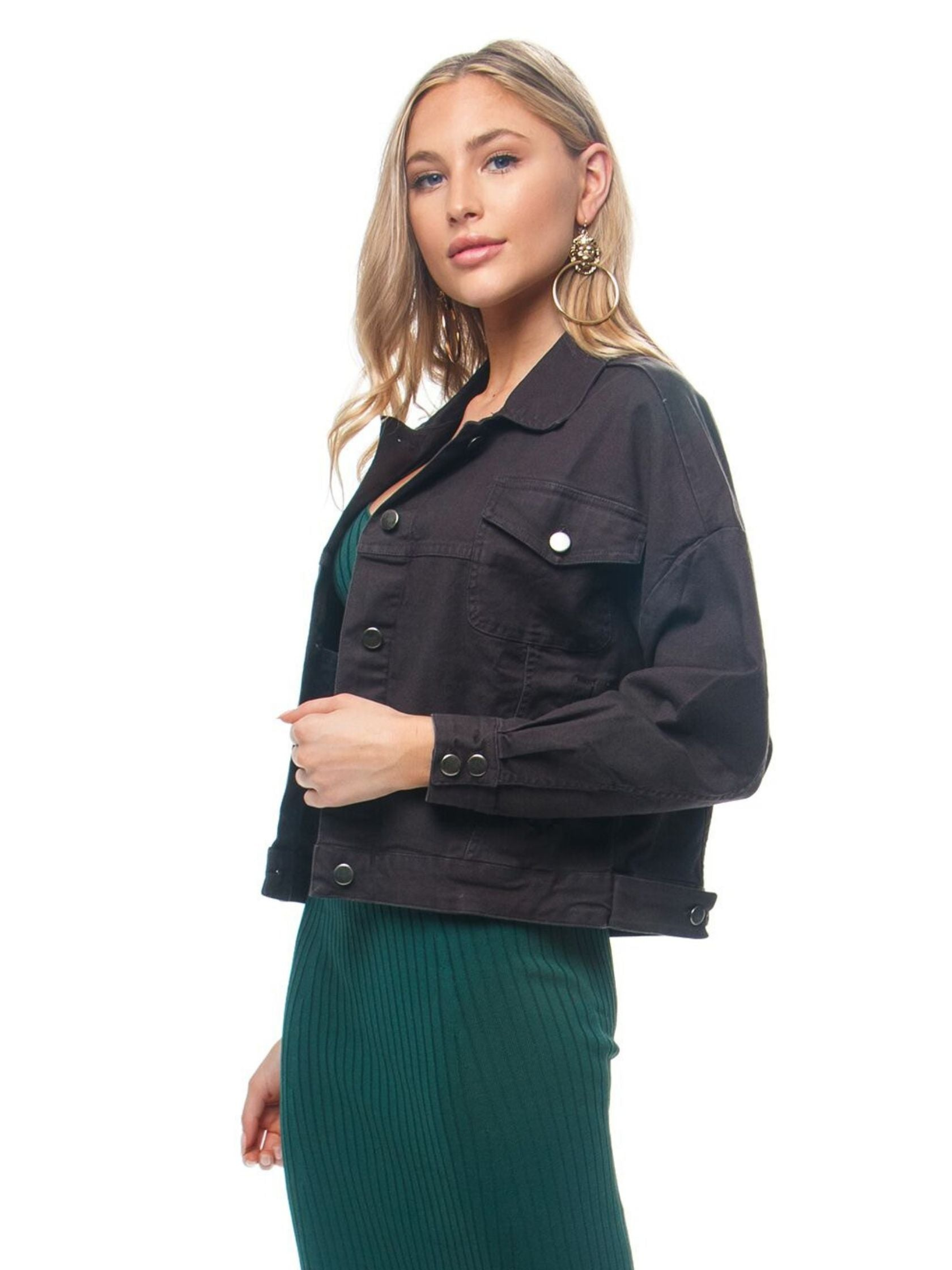 Women wearing a jacket rental from Chaser called Vintage Canvas Drop Shoulder Trucker Jacket