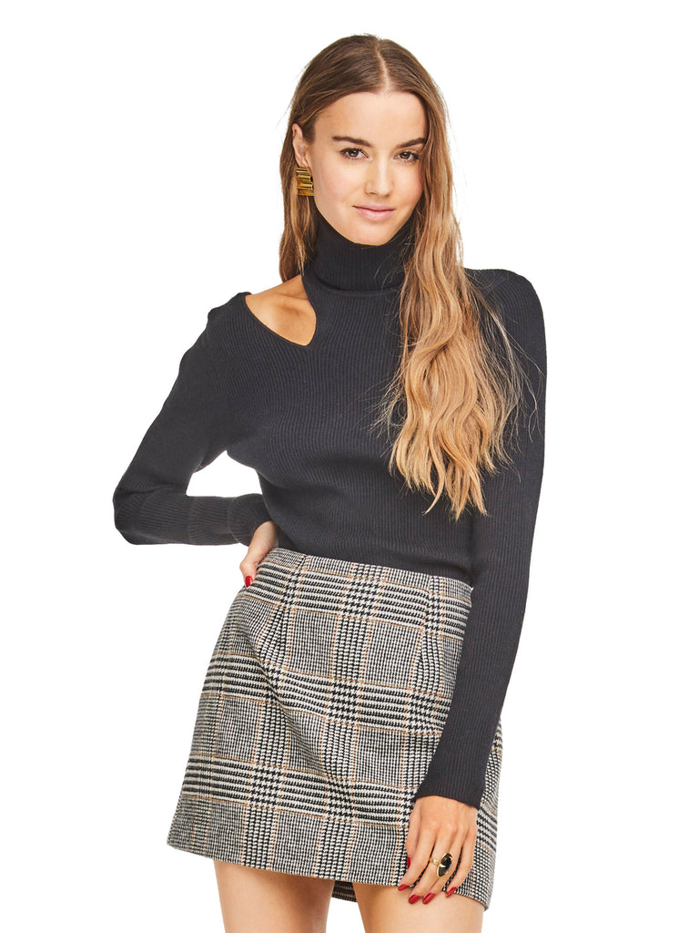 Girl outfit in a sweater rental from ASTR called Raye Skirt