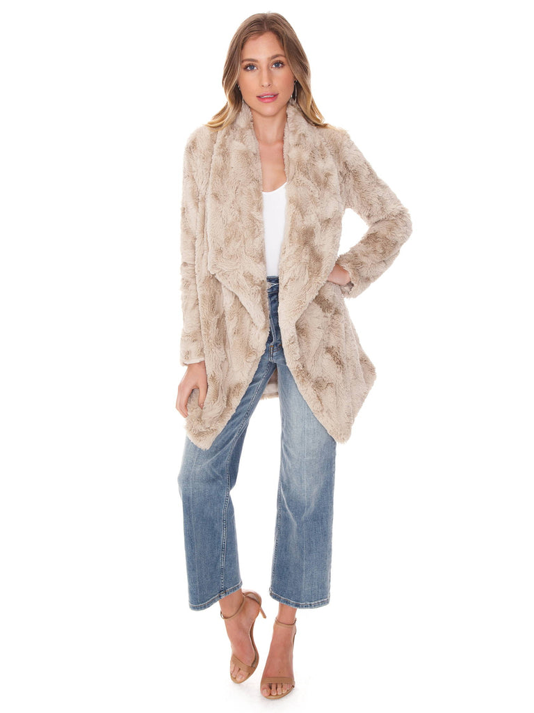 Woman wearing a jacket rental from BB Dakota called I've Been Busy Long Cardigan