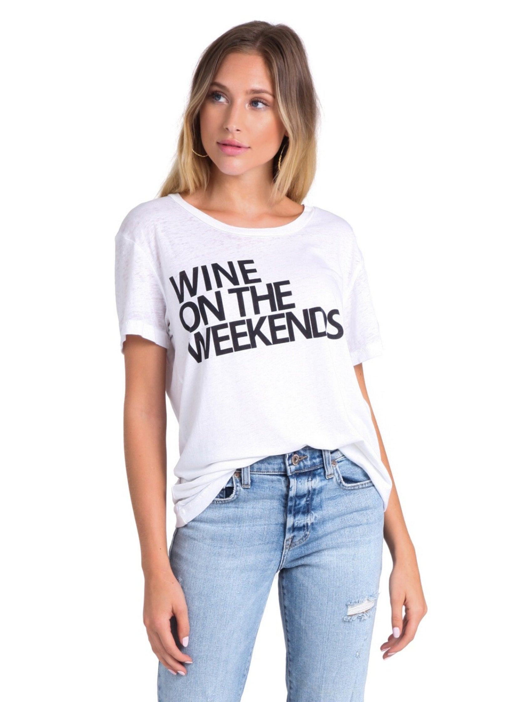Woman wearing a top rental from Chaser called Weekend Wine Tee