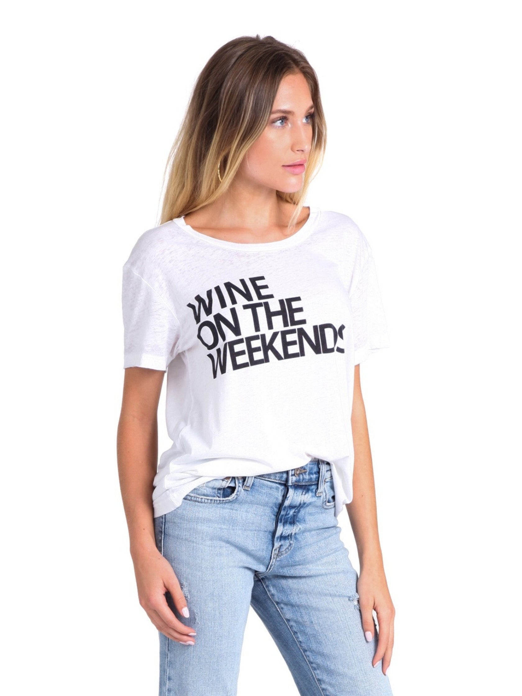 Women wearing a top rental from Chaser called Weekend Wine Tee