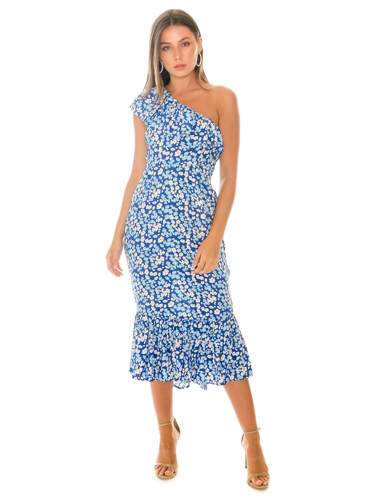 Women wearing a dress rental from RUE STIIC called Full Bloom Maxi