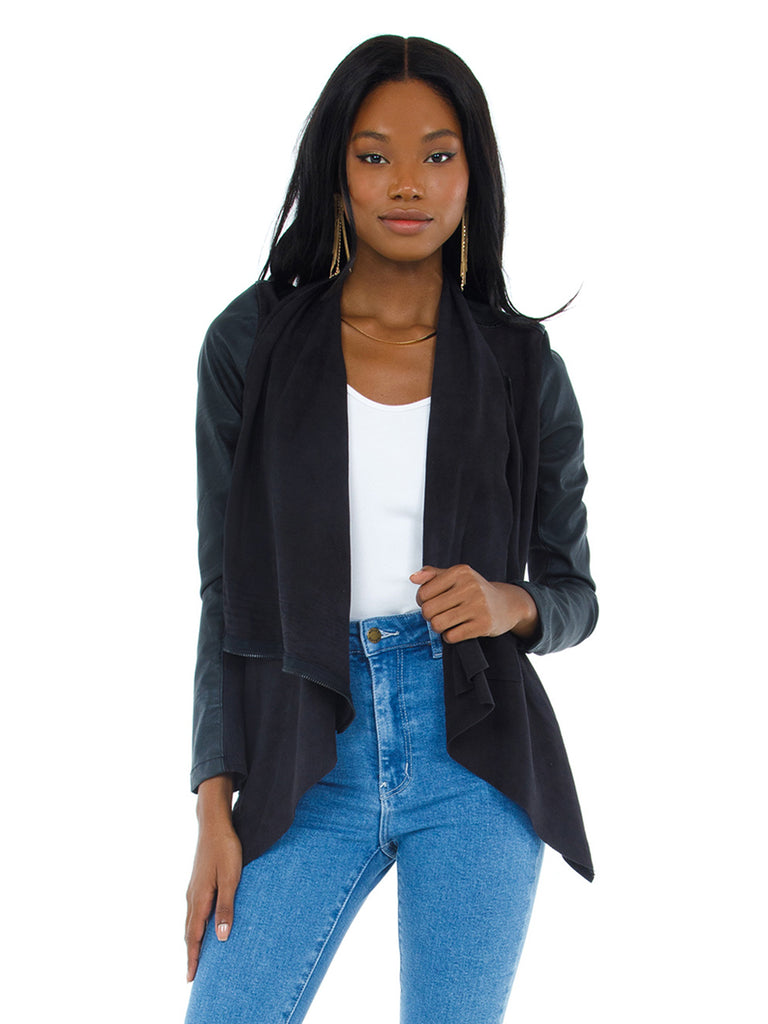 Women outfit in a jacket rental from BLANKNYC called Faux Leather Jogger