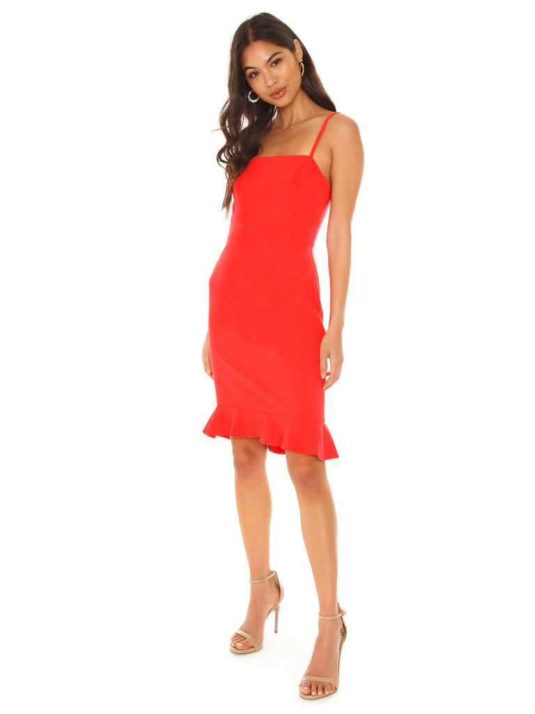 Women wearing a dress rental from French Connection called Constance Drape Cold Shoulder Dress