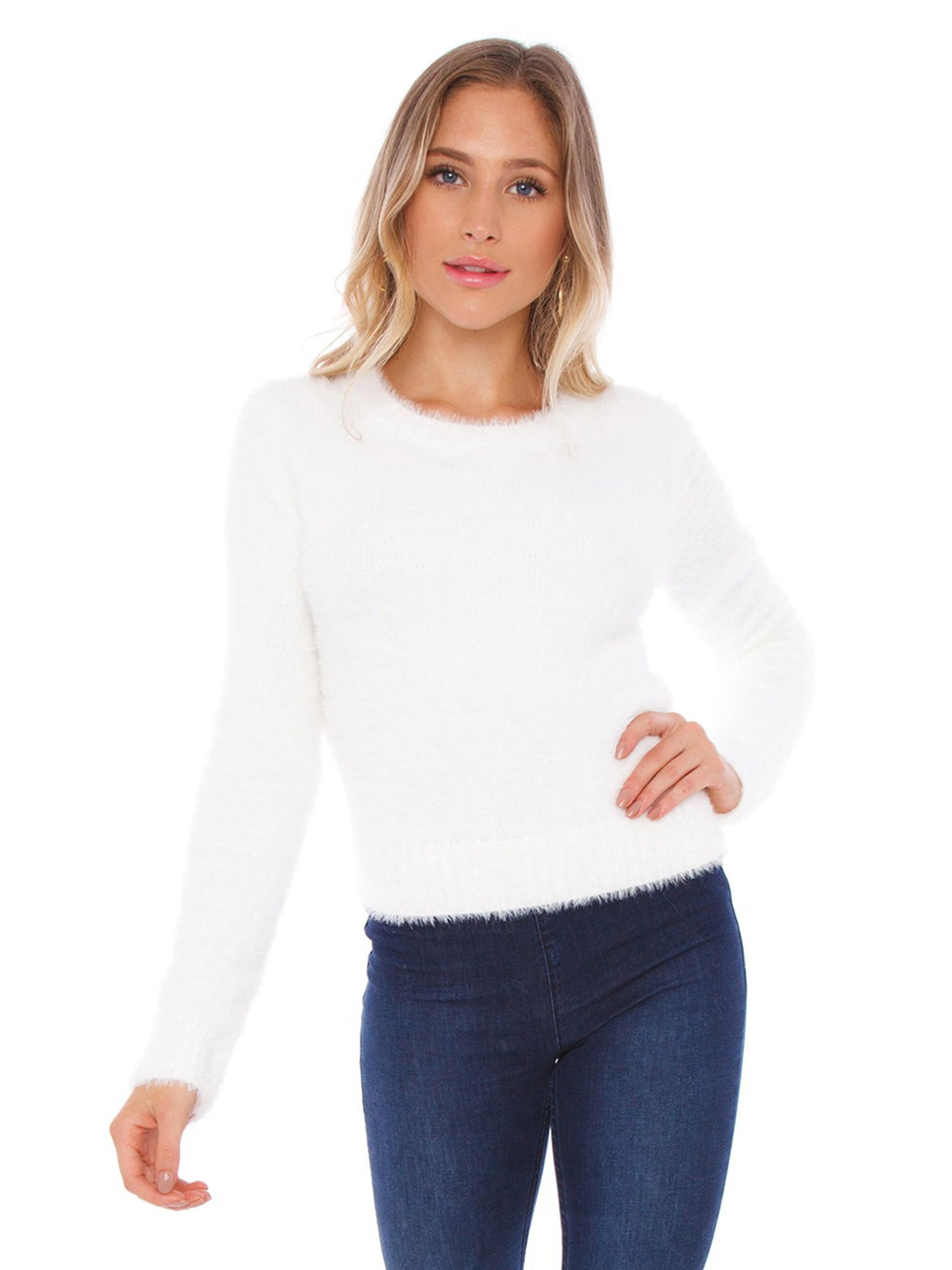 Woman wearing a sweater rental from FASHIONPASS called White As Snow Sweater
