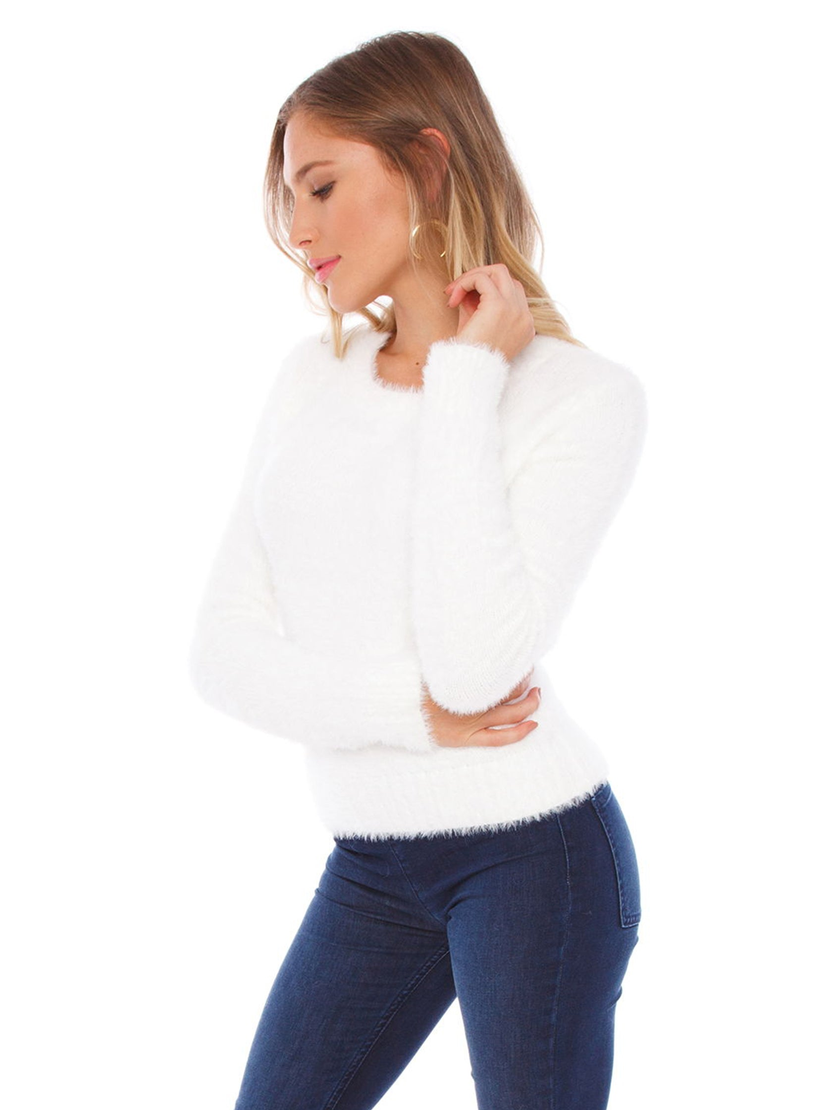 Women wearing a sweater rental from FASHIONPASS called White As Snow Sweater
